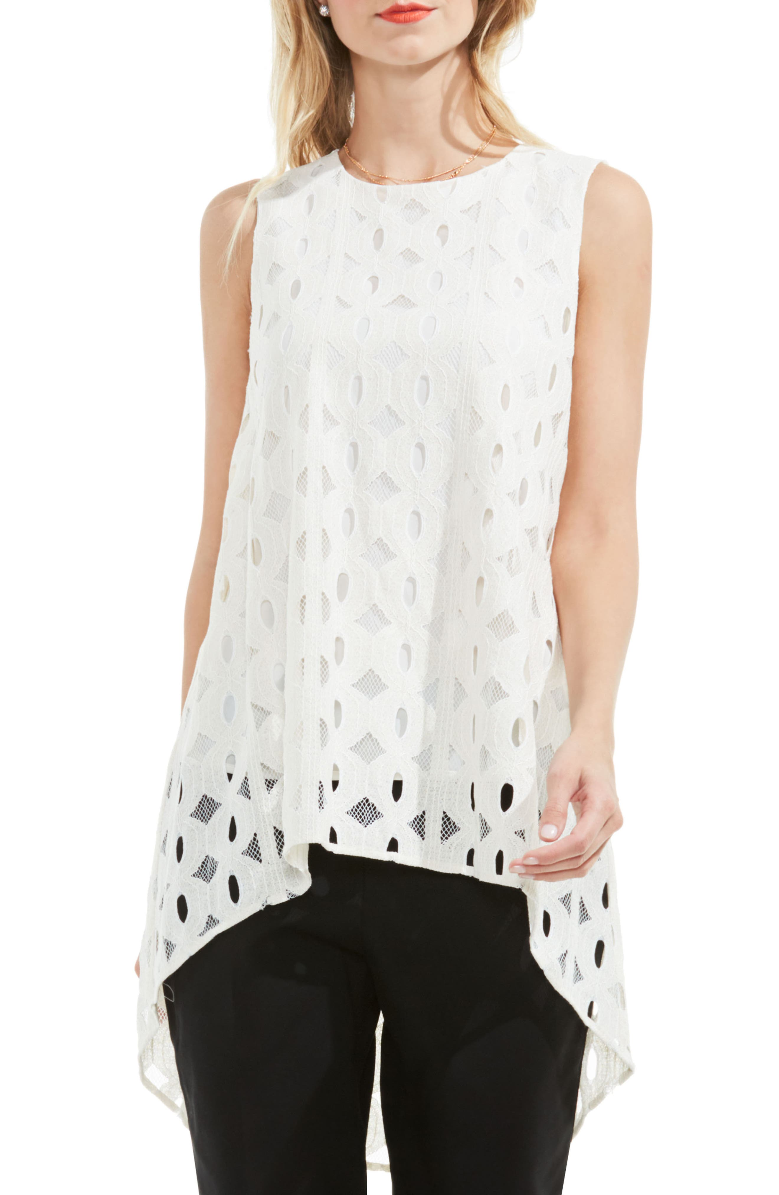 Vince Camuto High/Low Cable Lace Top