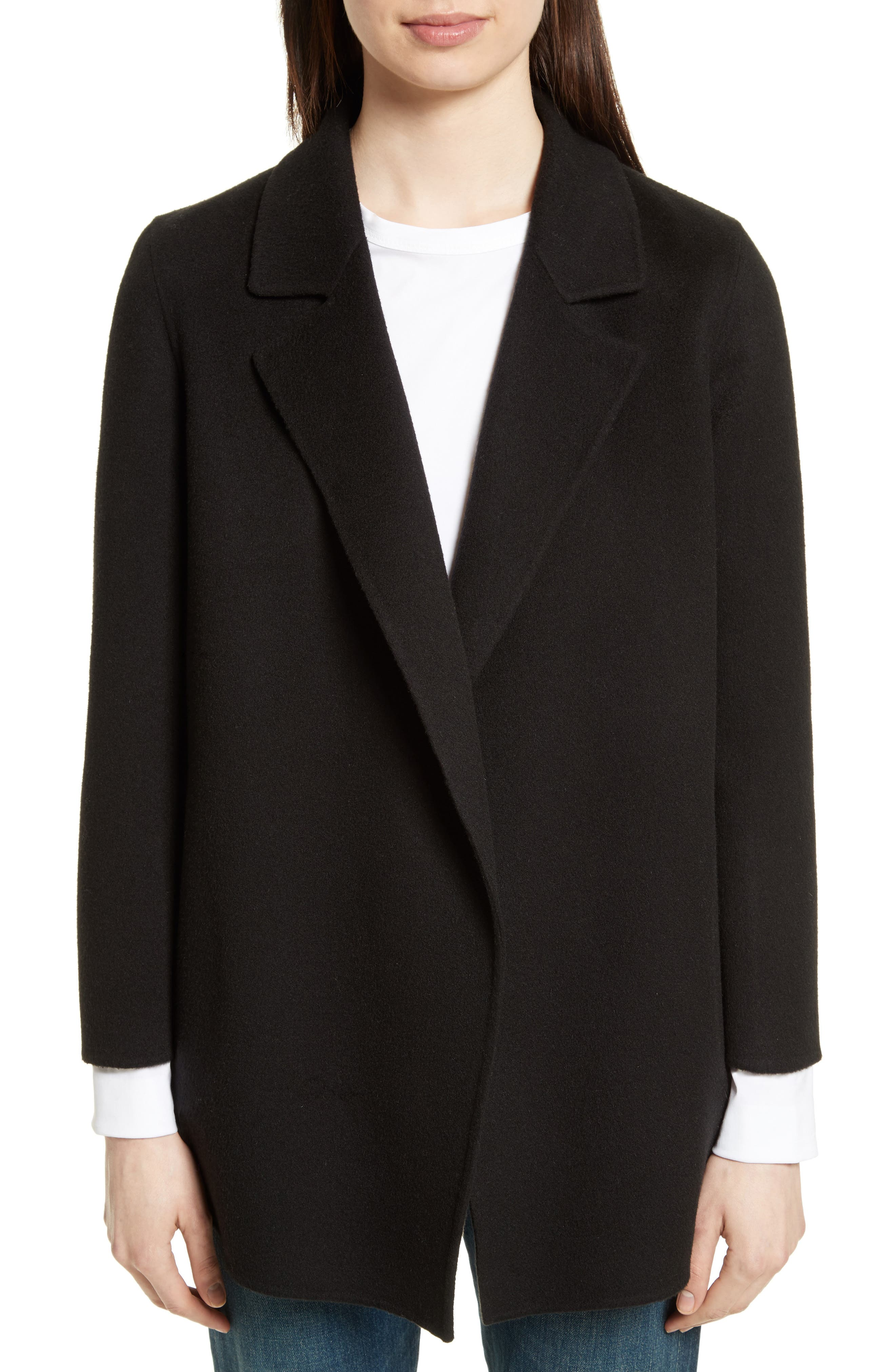 Theory Clairene New Divide Wool & Cashmere Open Front Topper