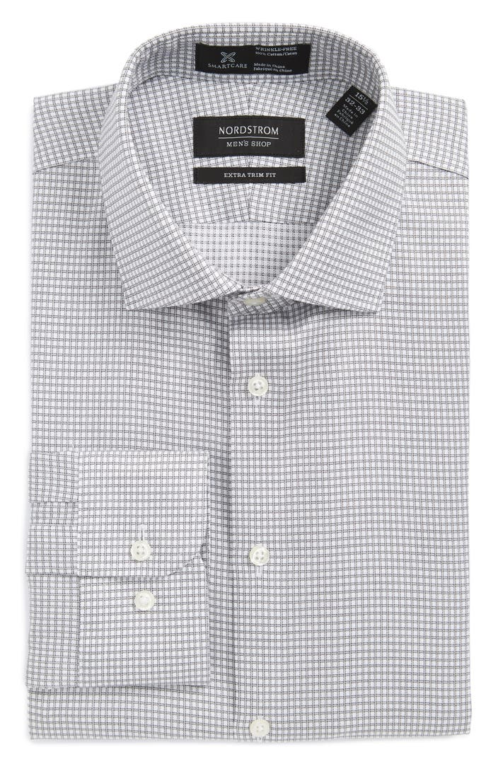 Nordstrom men 39 s shop smartcare extra trim fit check dress for Extra trim fit dress shirt