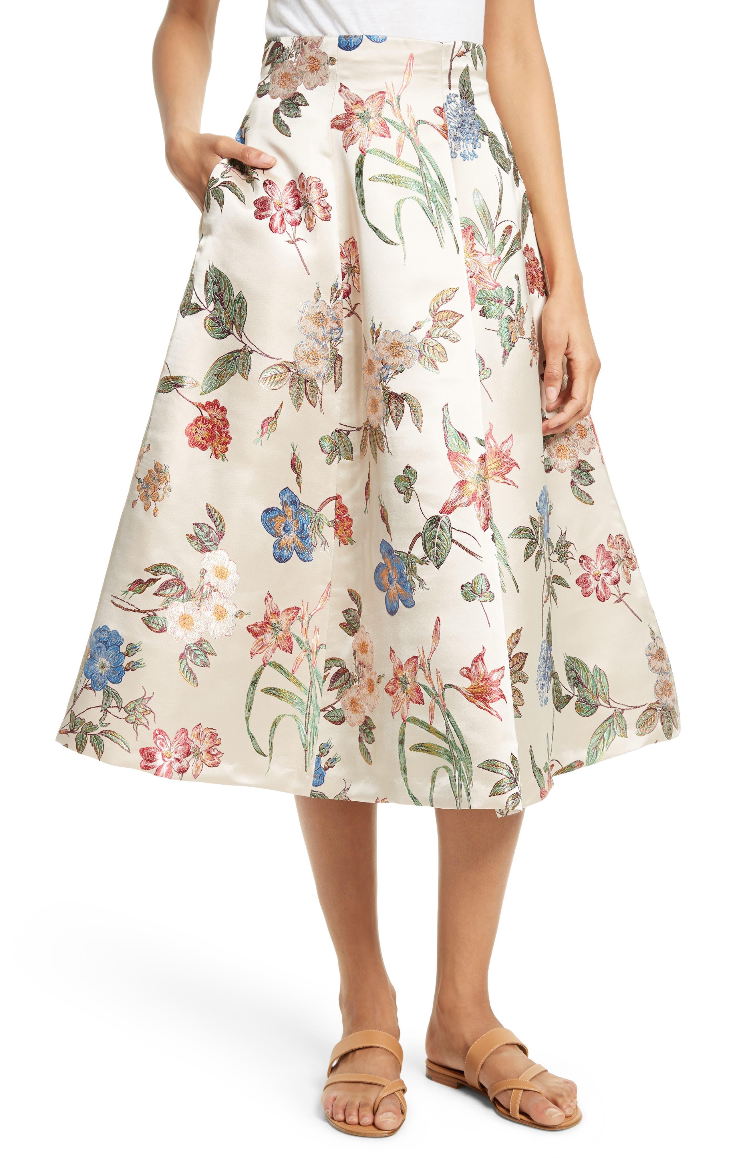 Alice + Olivia Fila Floral Midi Skirt