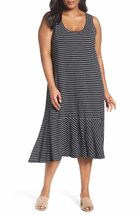 Caslon® Drop Waist Jersey Dress (Plus Size)