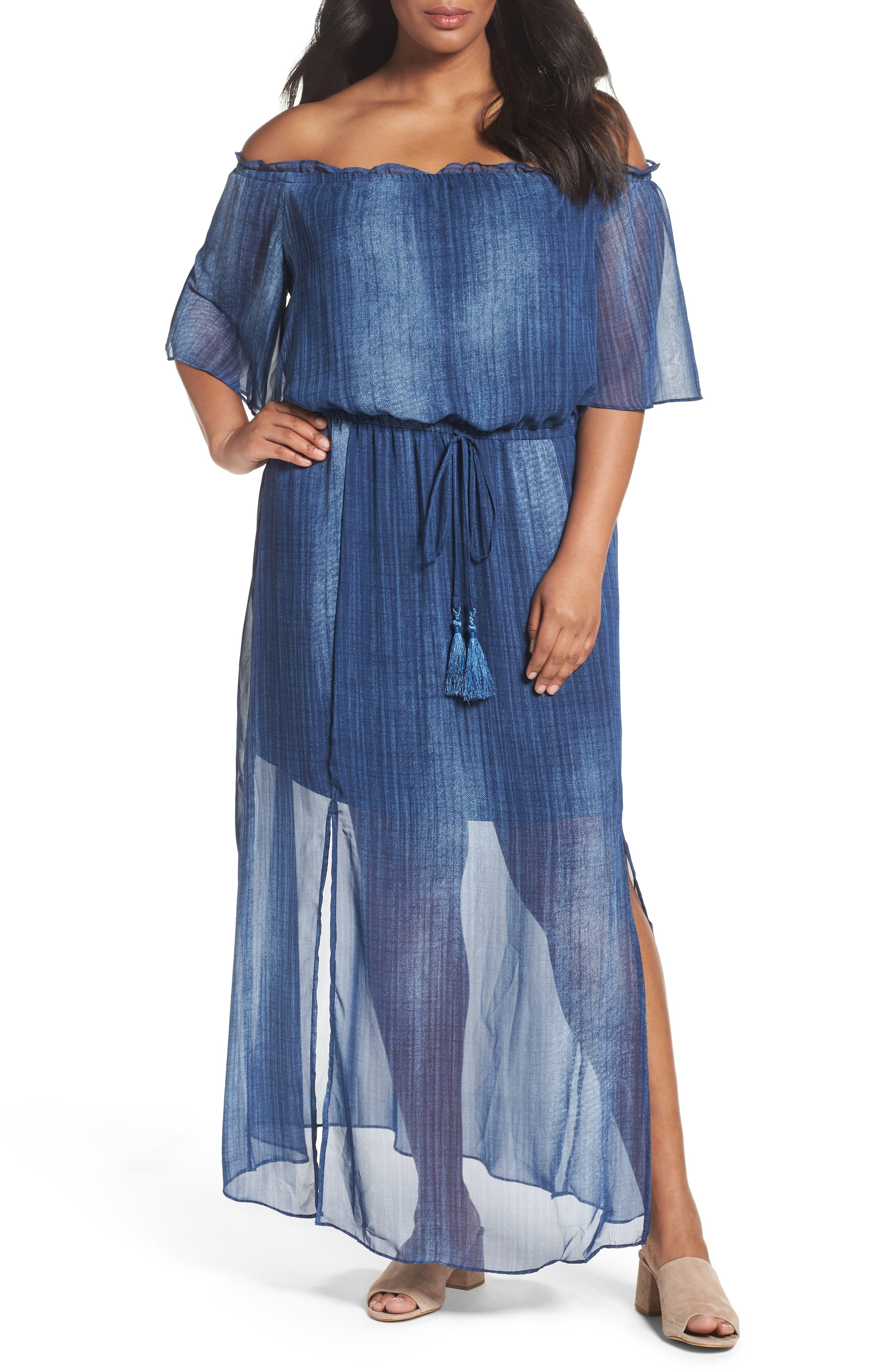 London Times Off the Shouider Maxi Dress (Plus Size)