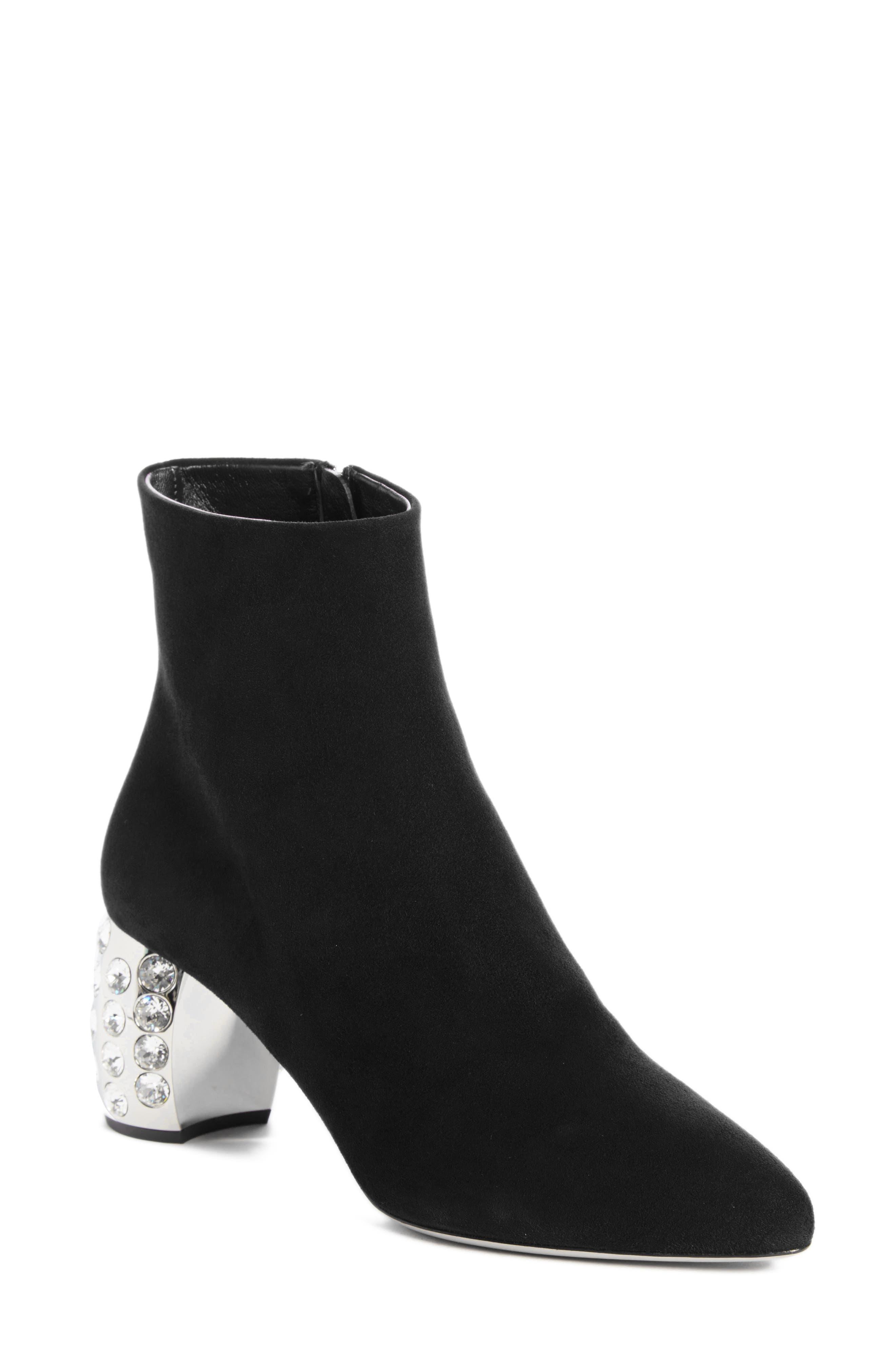 Miu Miu Embellished Block Heel Boot (Women)