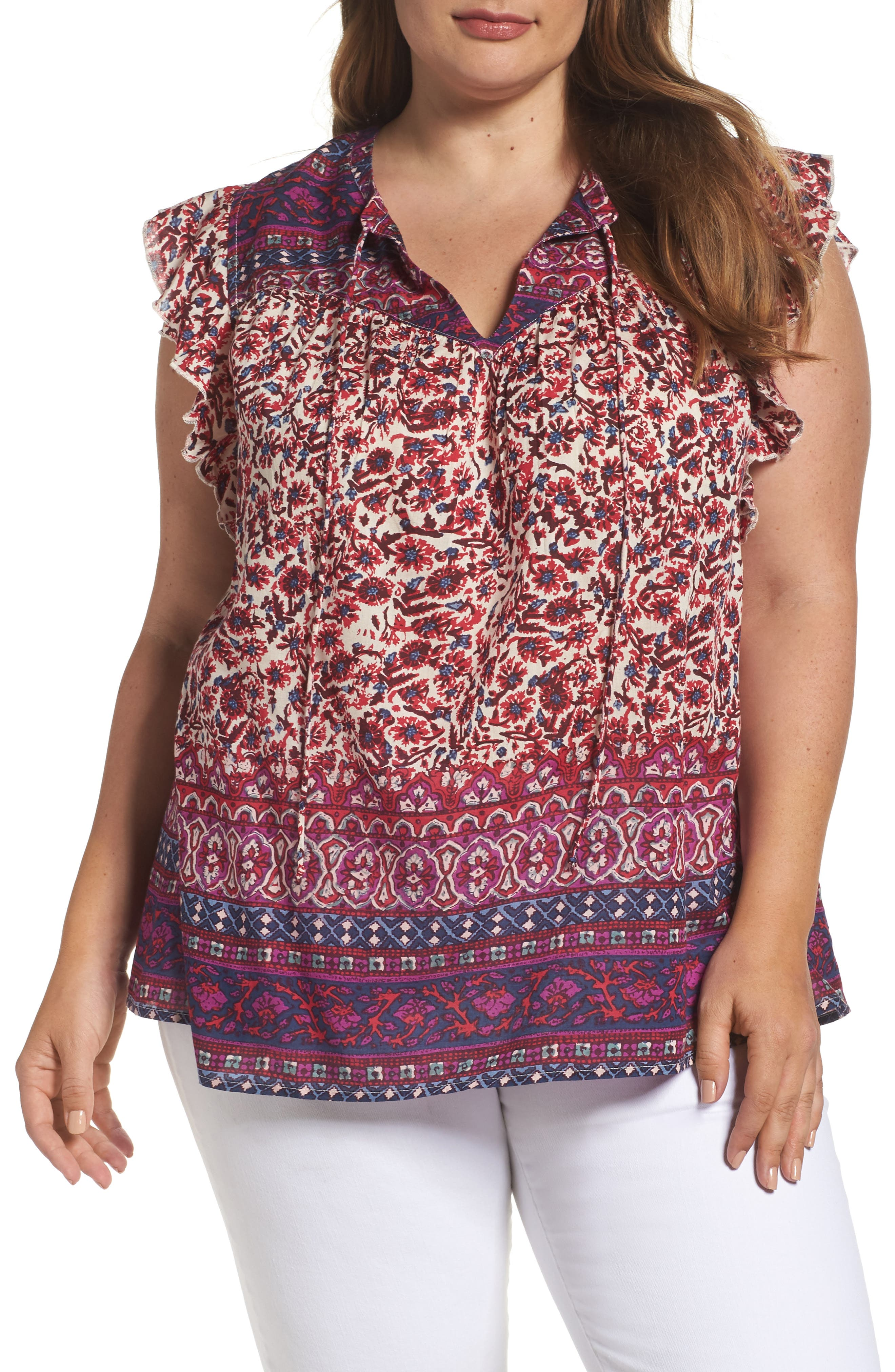 Lucky Brand Lucy Peasant Top (Plus Size)