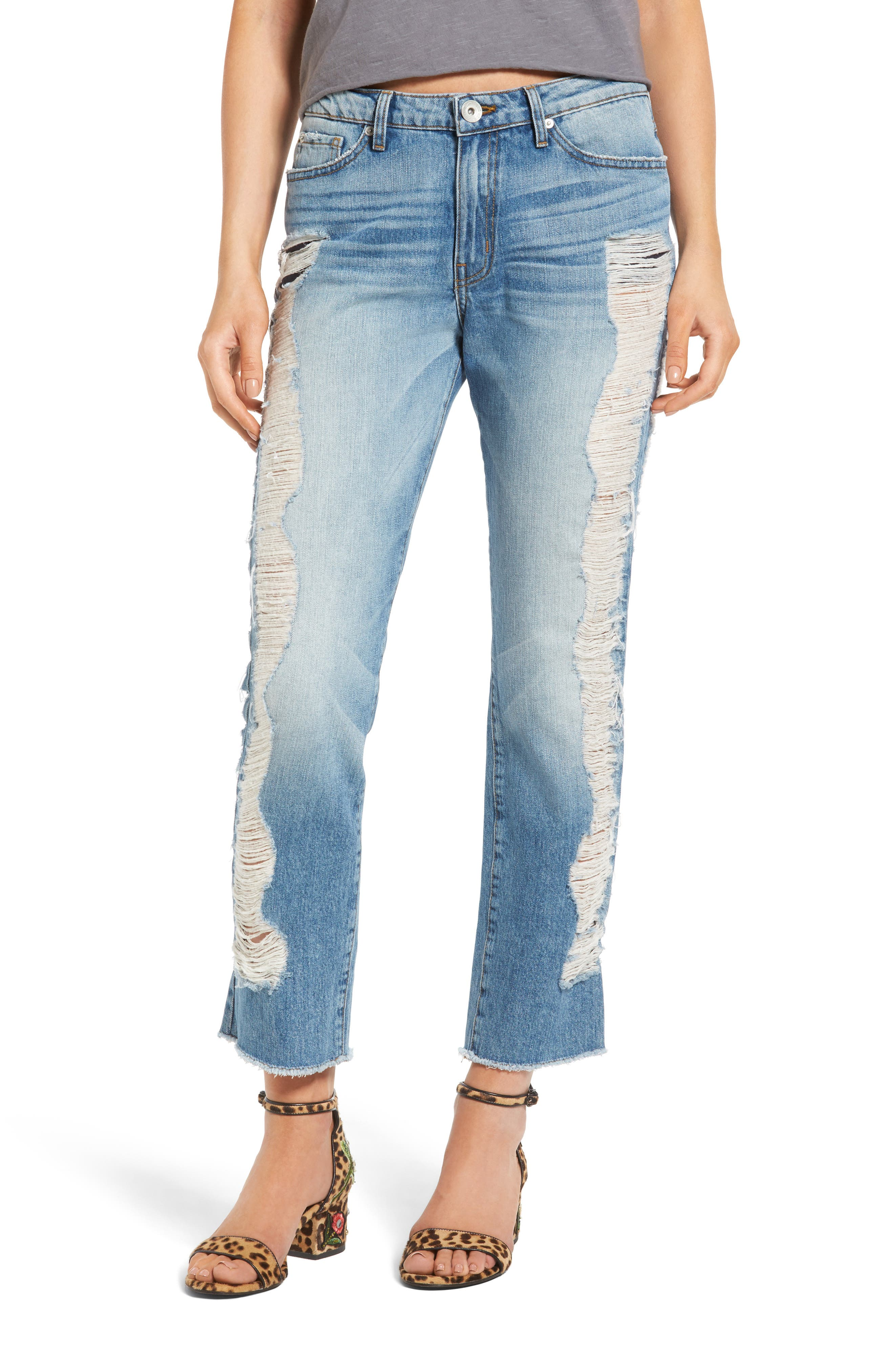 Band of Gypsies Quinn Ripped Ankle Jeans (Blue Fest)