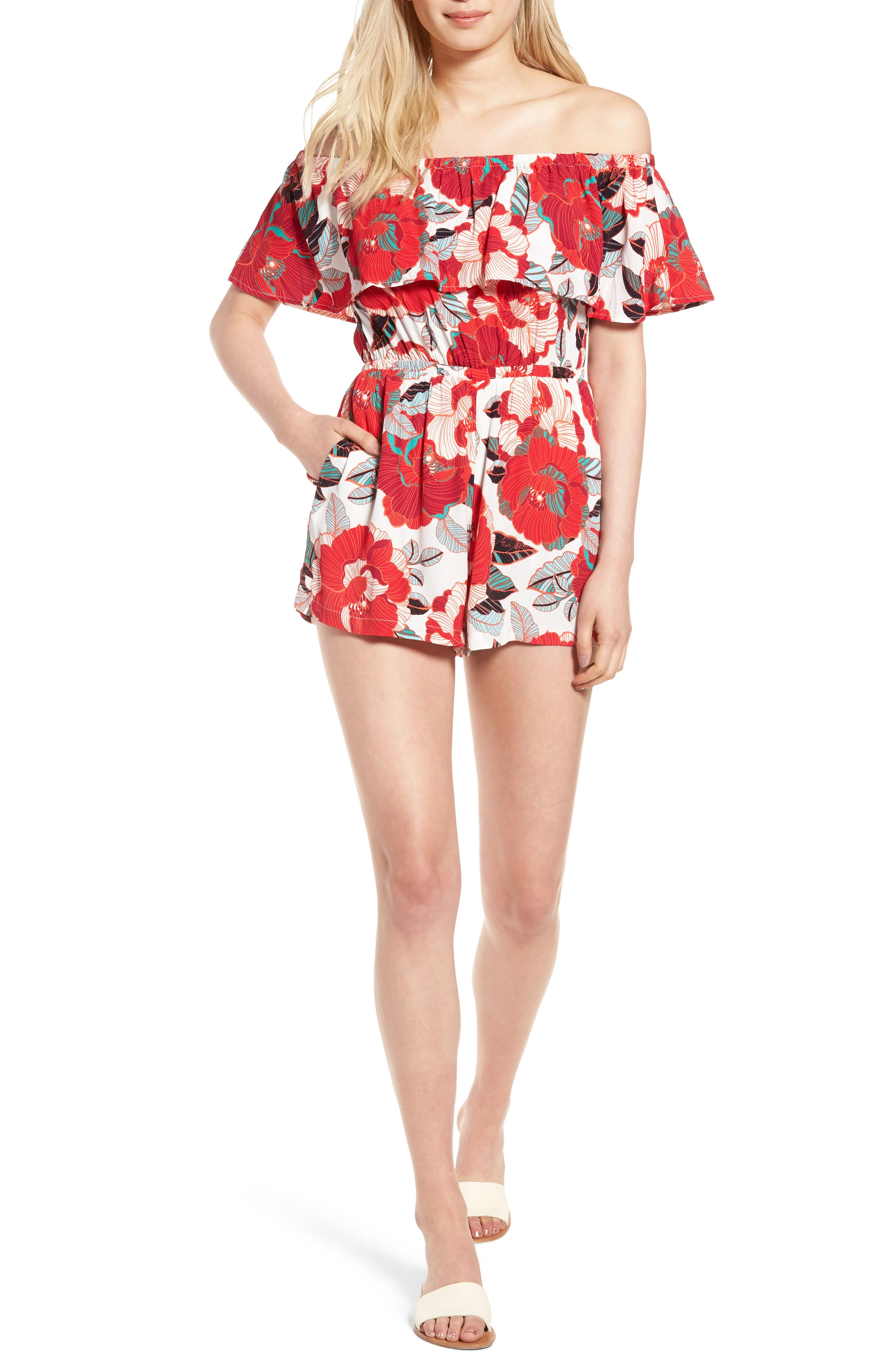 cupcakes and cashmere Cadrian Off the Shoulder Romper