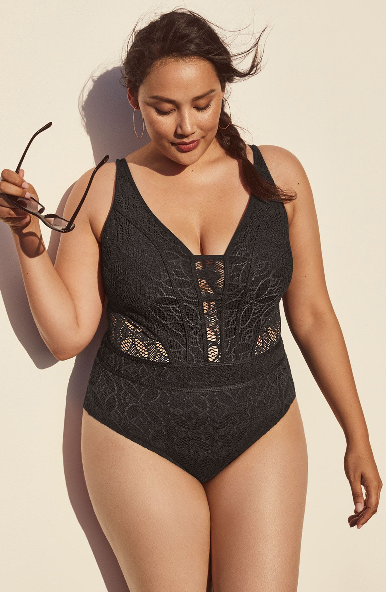 Alternate Image 7  - Becca Etc. 'Show & Tell' Crochet One-Piece Swimsuit (Plus Size)