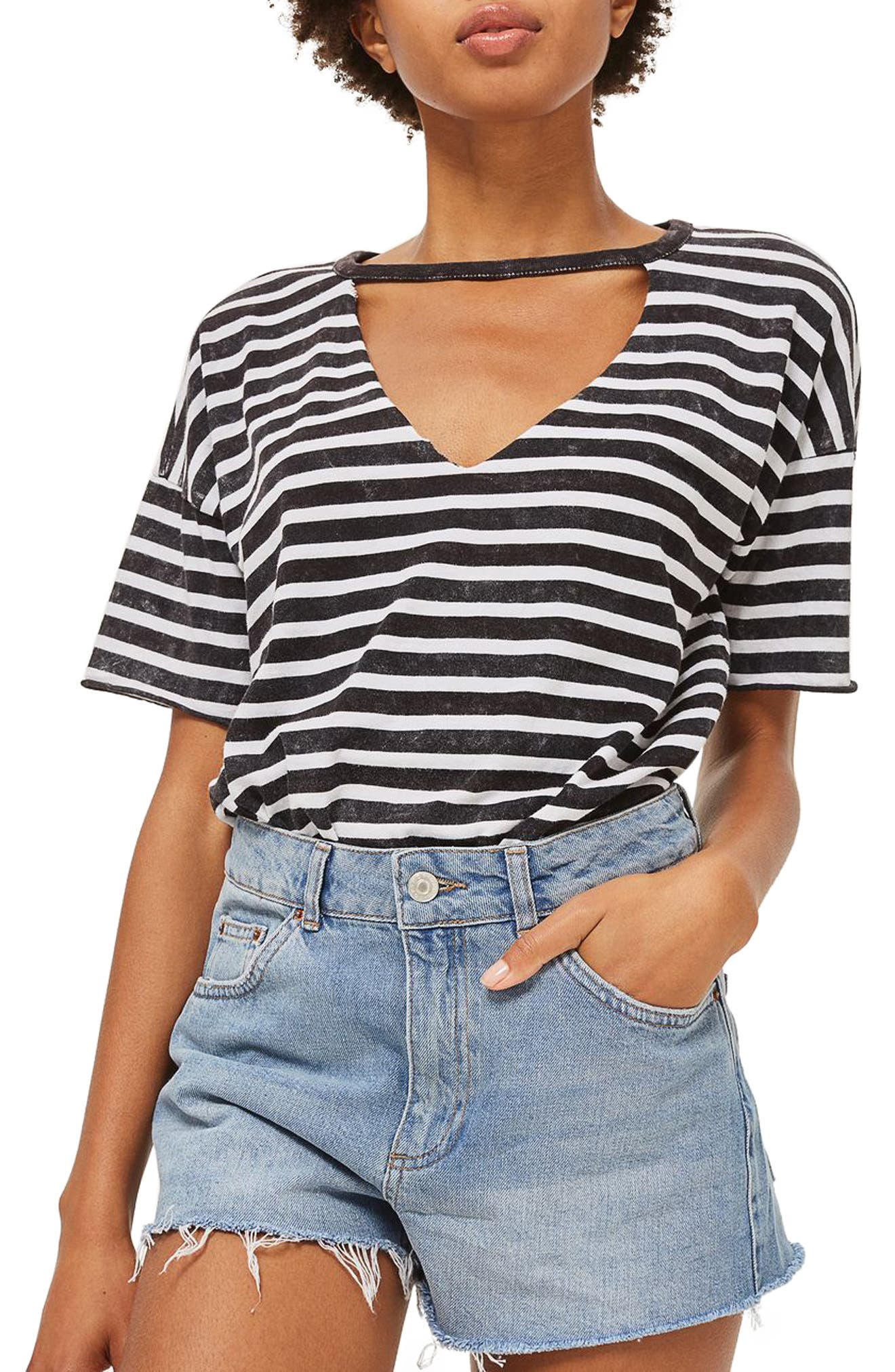 Alternate Image 1 Selected - Topshop Longline Denim Mom Shorts (Petite)