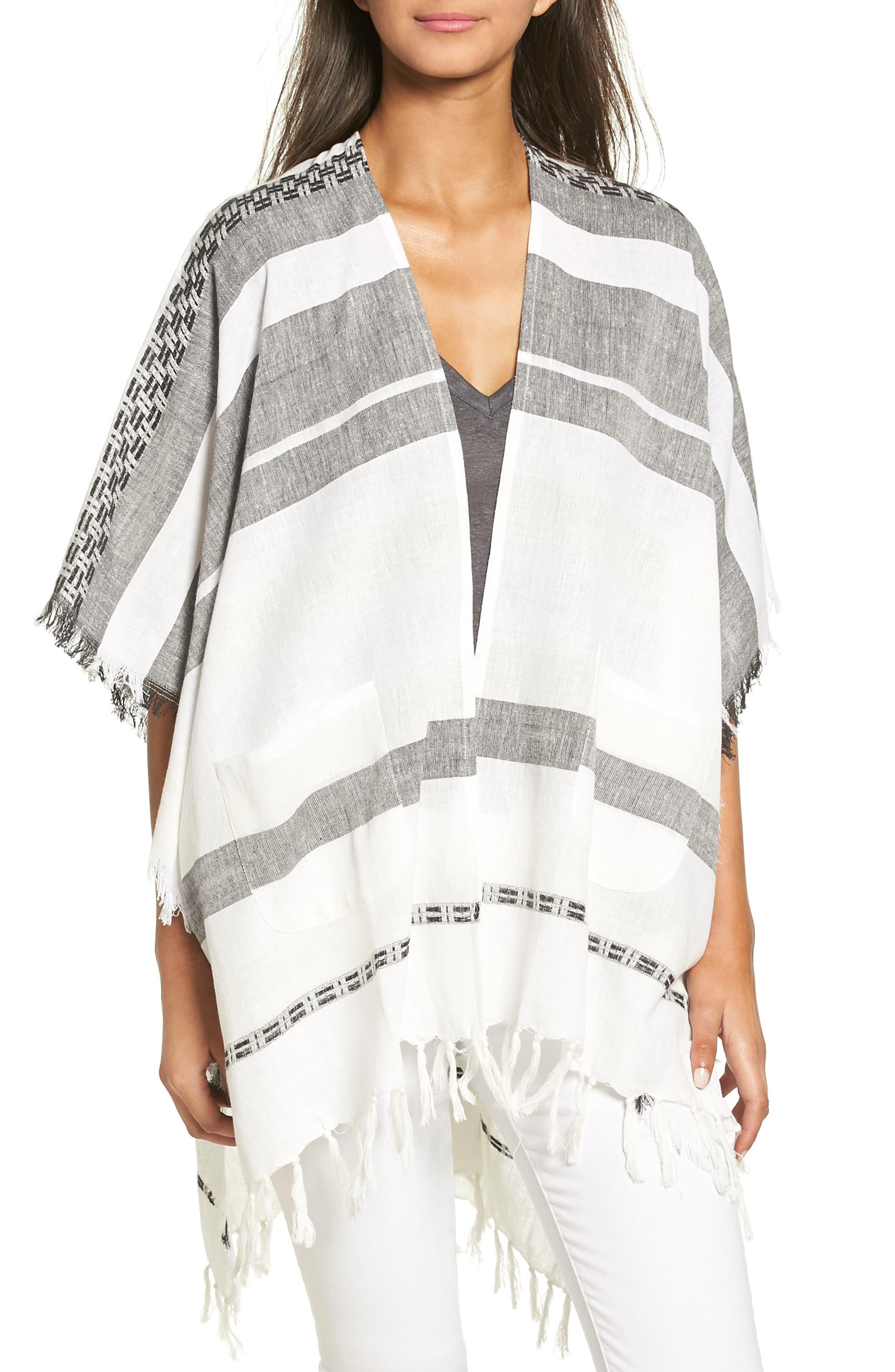 Echo Blanket Stripe Poncho