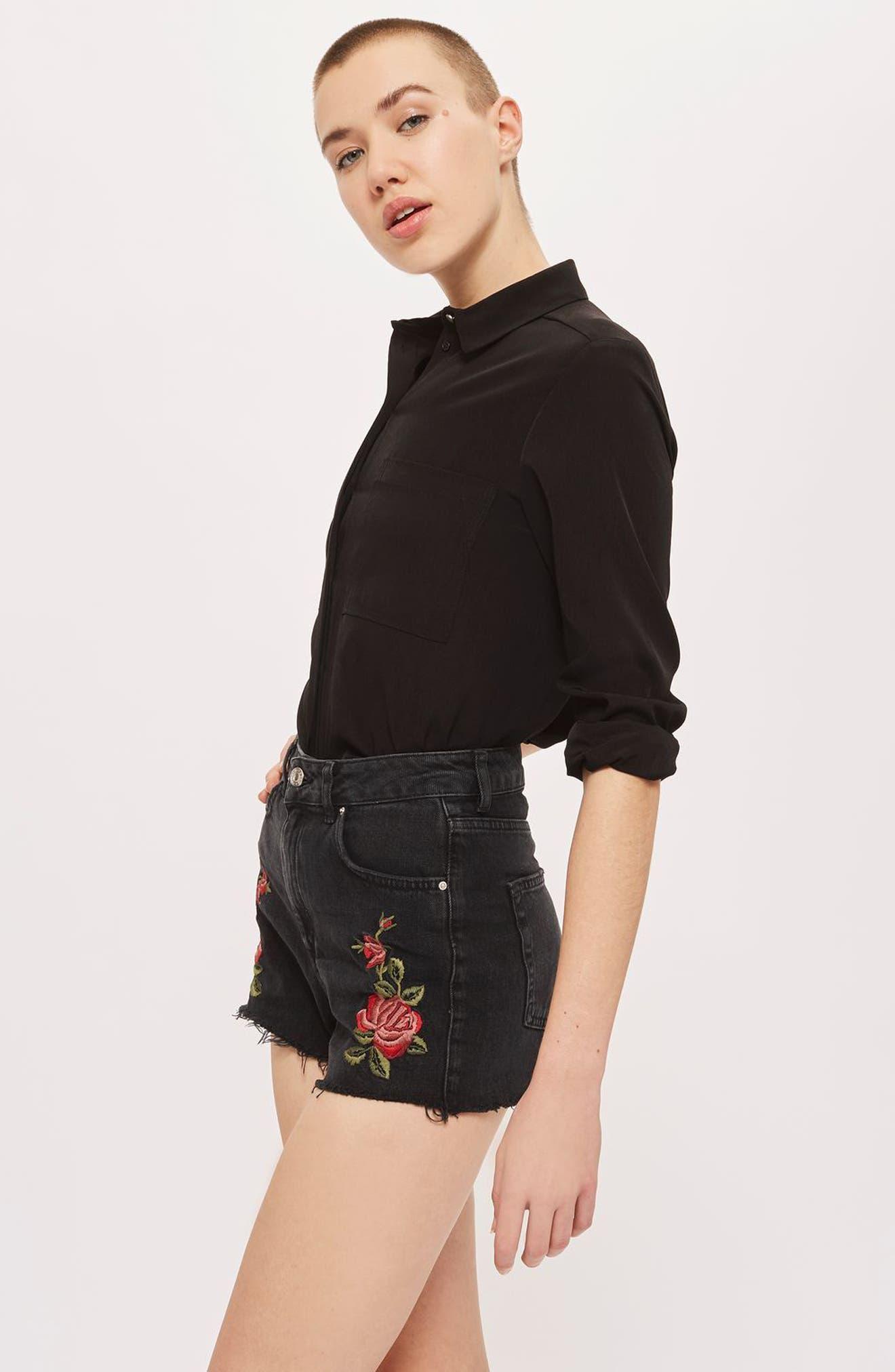 Alternate Image 2  - Topshop Rose Embroidered Mom Shorts