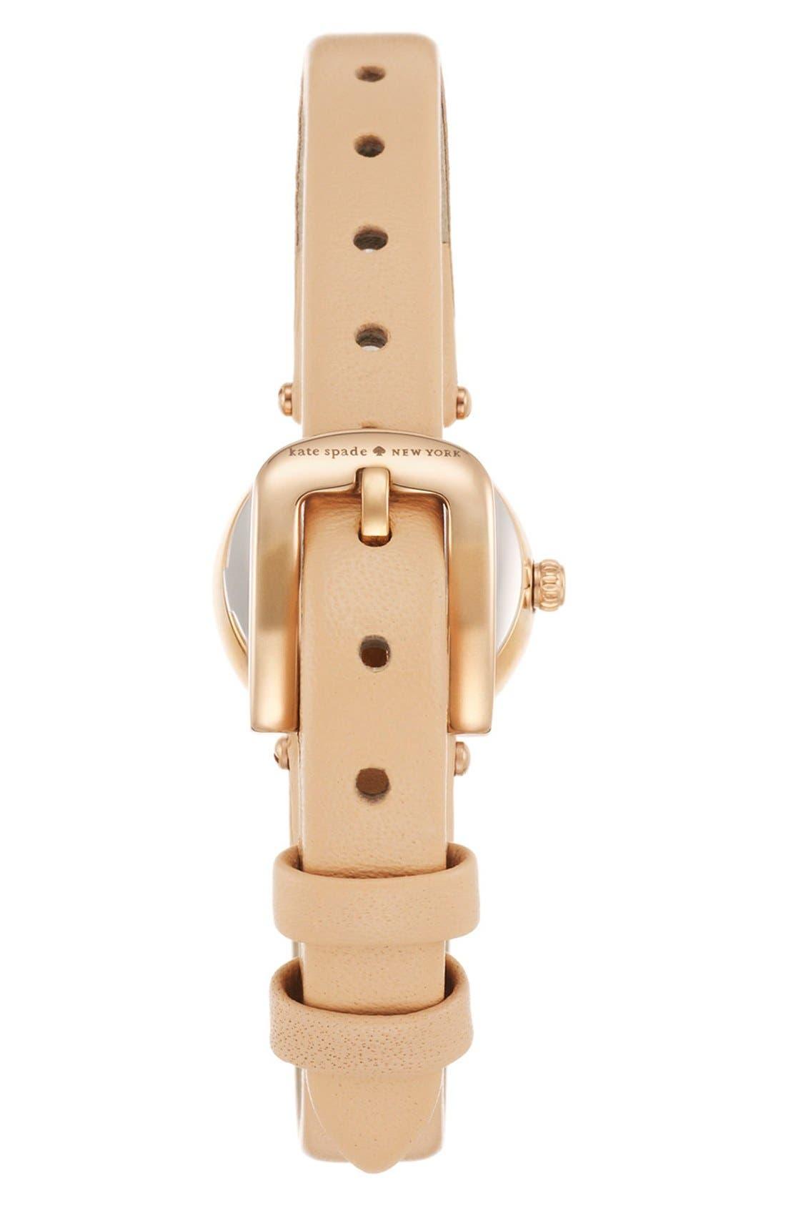 Alternate Image 2  - kate spade new york 'tiny metro' crystal bezel leather strap watch, 20mm