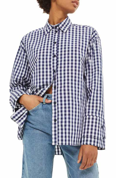 Topshop Double Cuff Gingham Shirt
