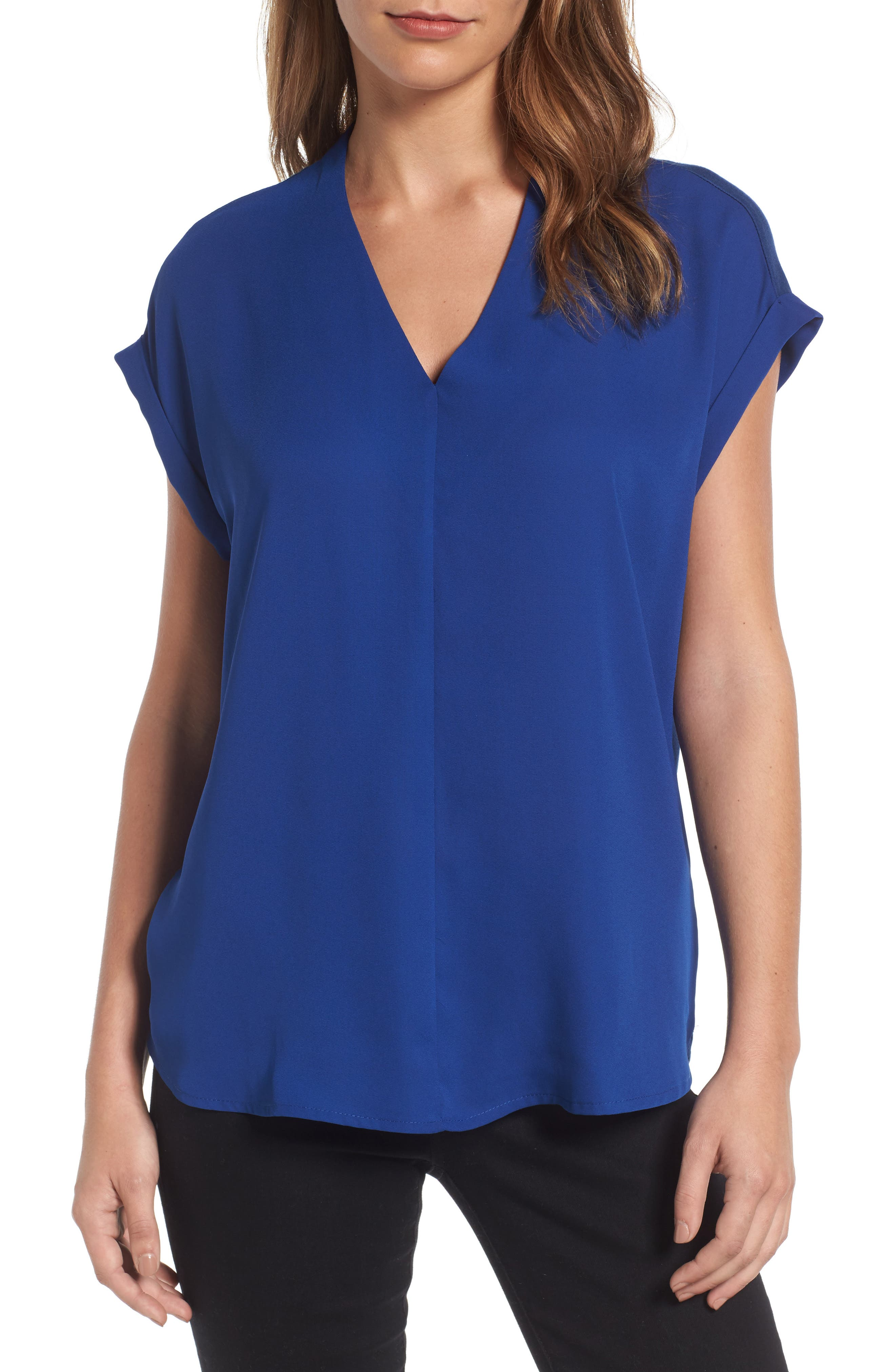 Alternate Image 1 Selected - Pleione High/Low V-Neck Mixed Media Top (Regular & Petite)