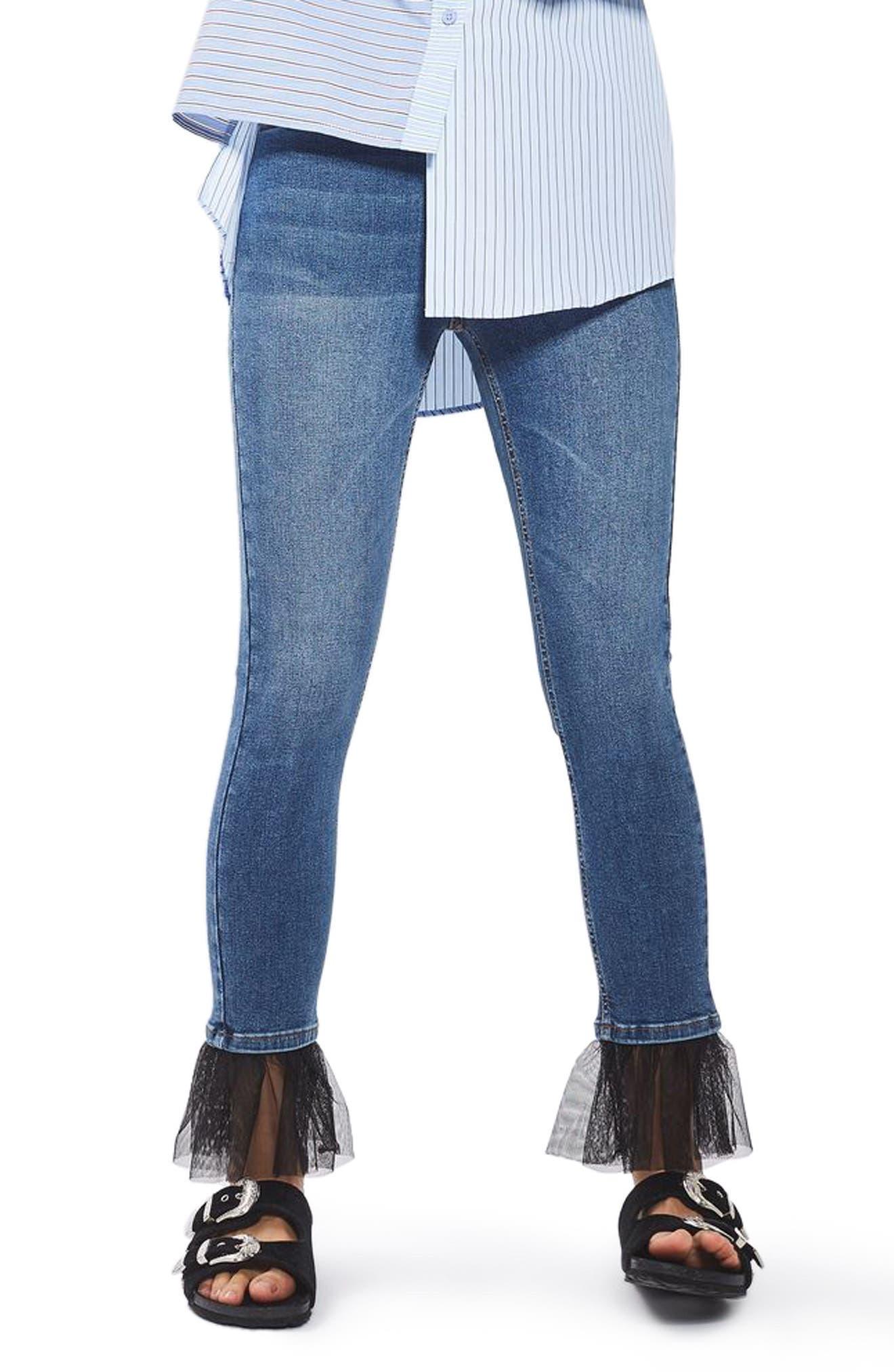 Alternate Image 1 Selected - Topshop Jamie Tulle Hem Skinny Jeans