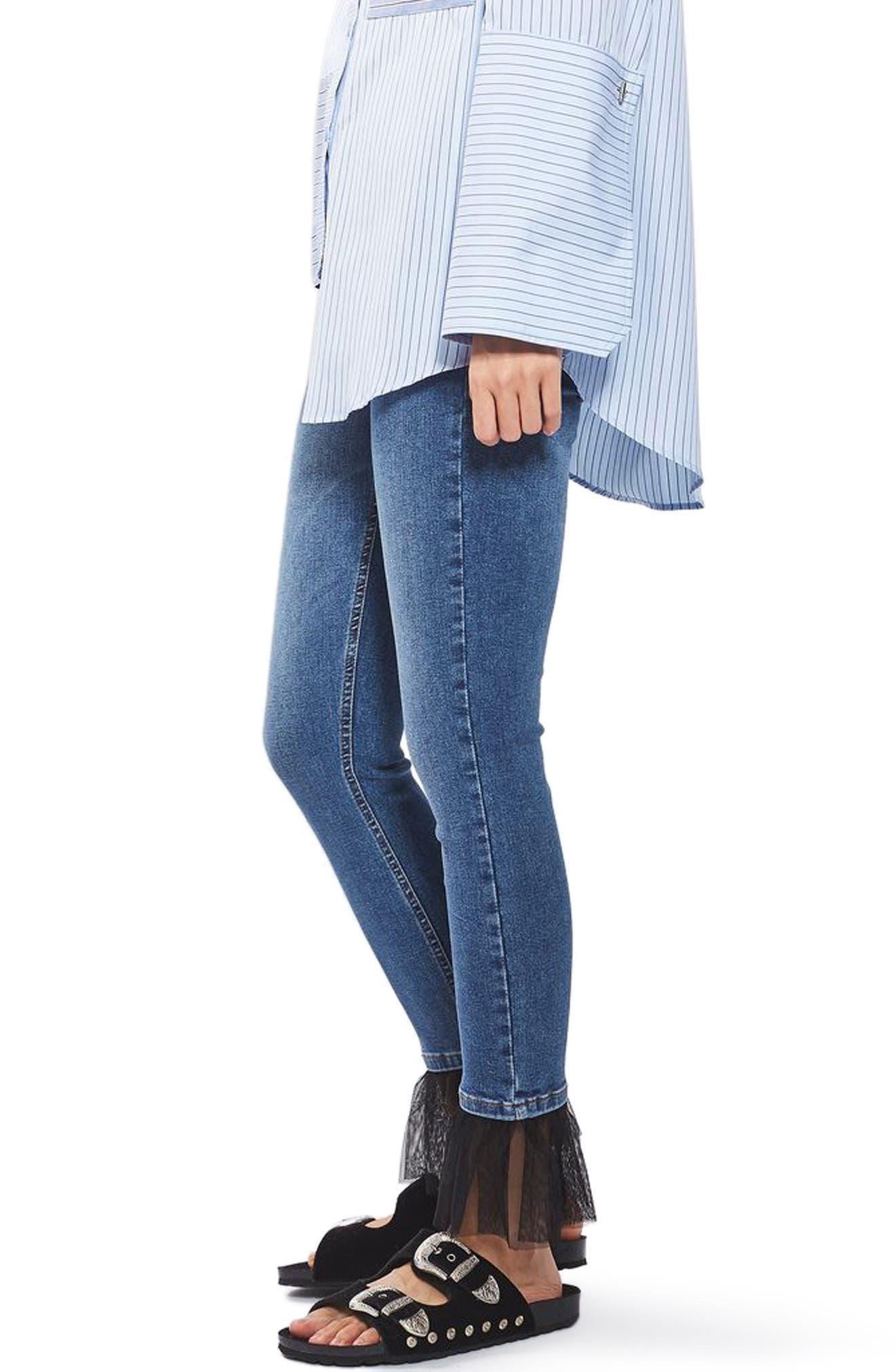 Alternate Image 4  - Topshop Jamie Tulle Hem Skinny Jeans