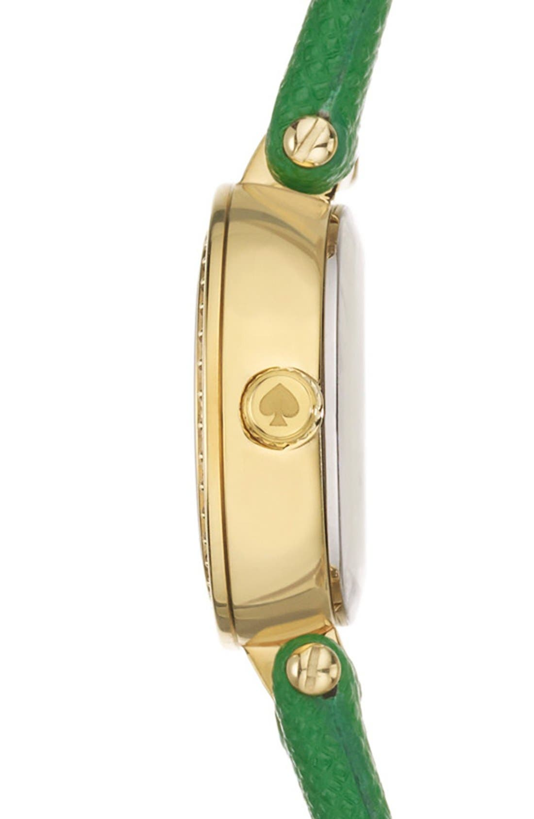 Alternate Image 3  - kate spade new york 'tiny metro' crystal bezel leather strap watch, 20mm