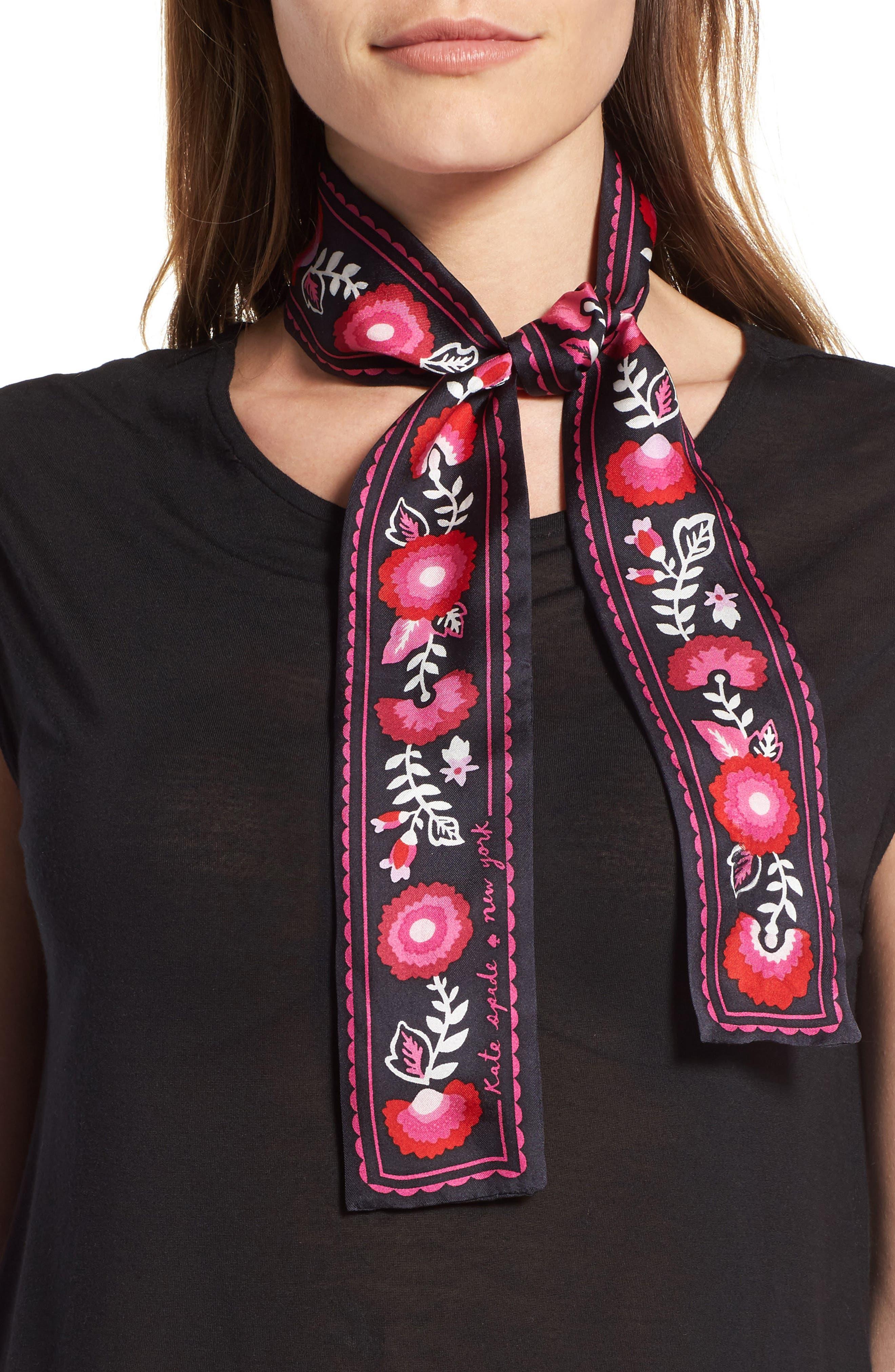 kate spade new york guitar strap skinny silk scarf