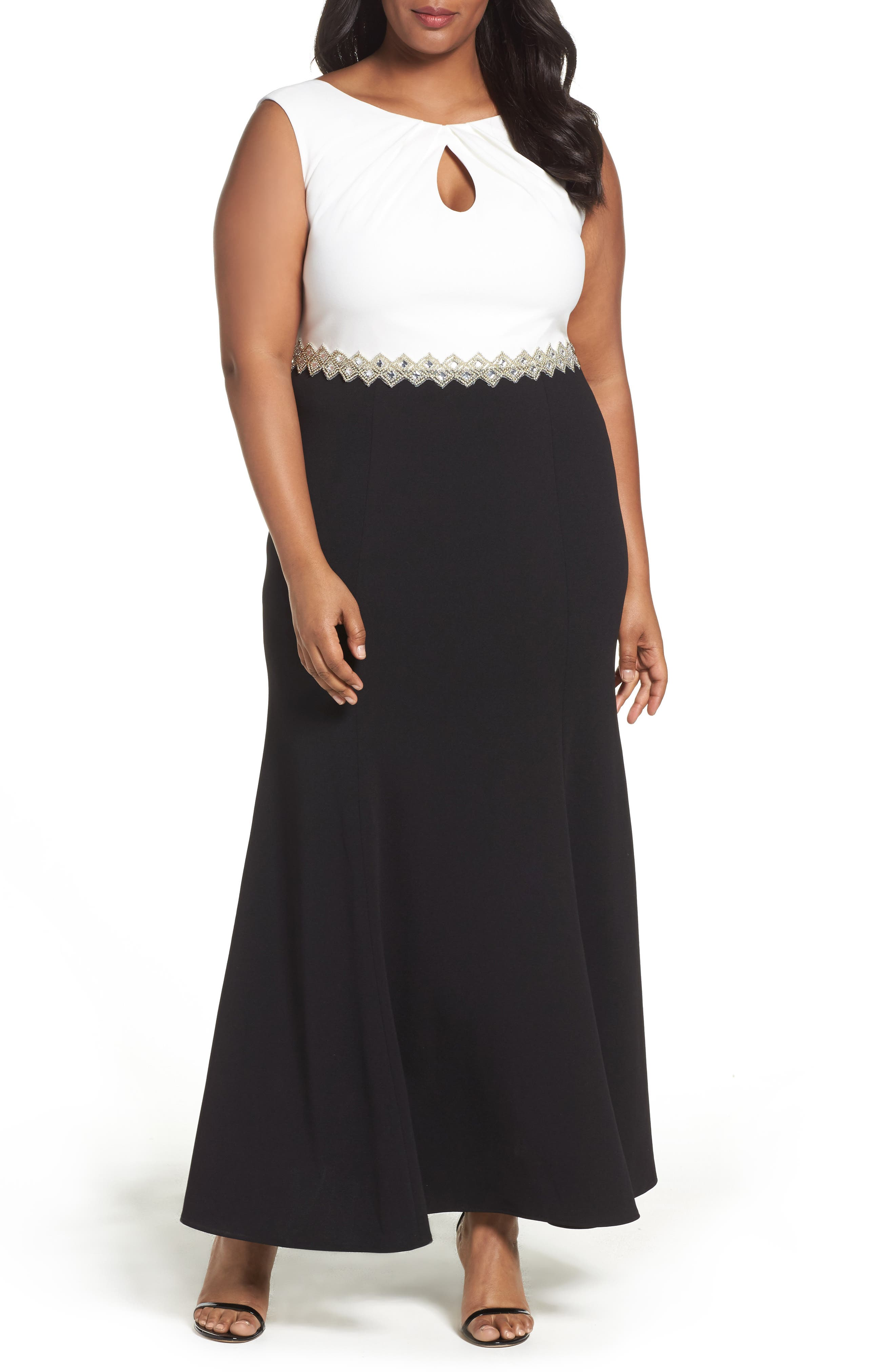 Alex Evenings Embellished Colorblock Long Dress (Plus Size)