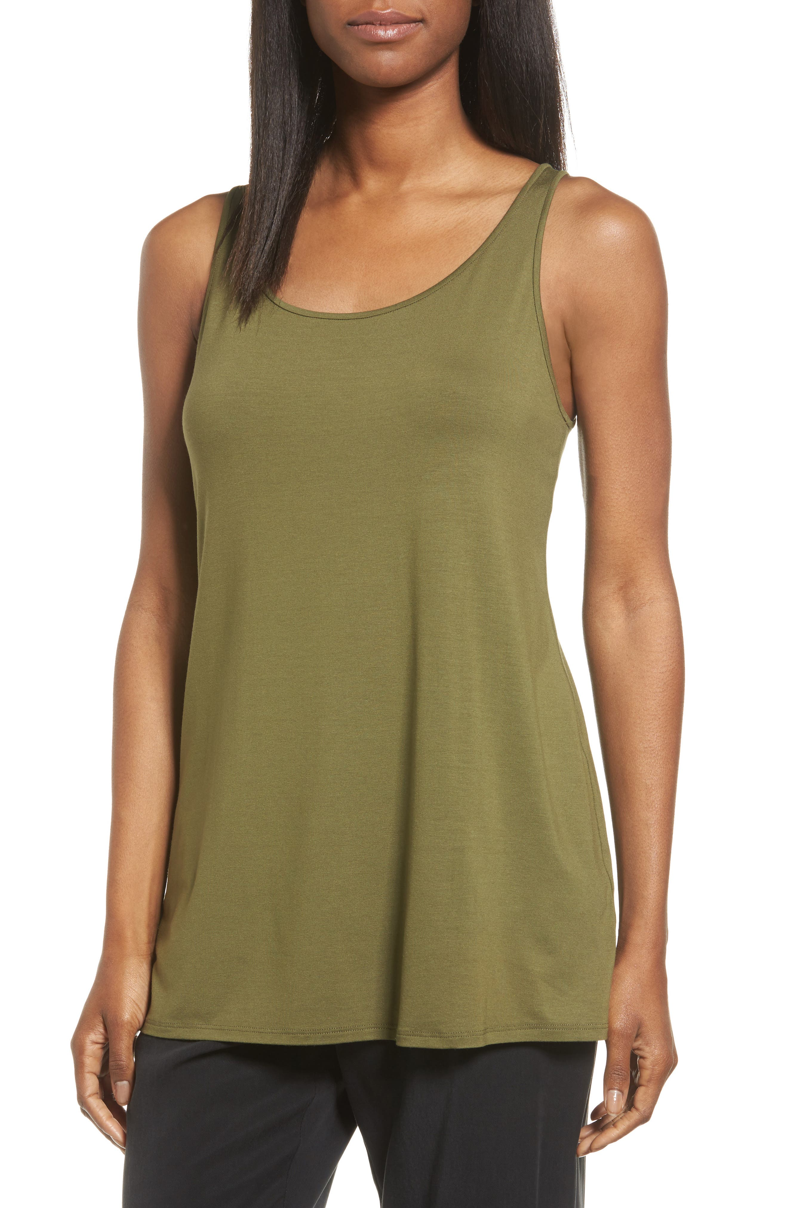 Eileen Fisher Jersey Scoop Neck Long Tank (Regular & Petite)