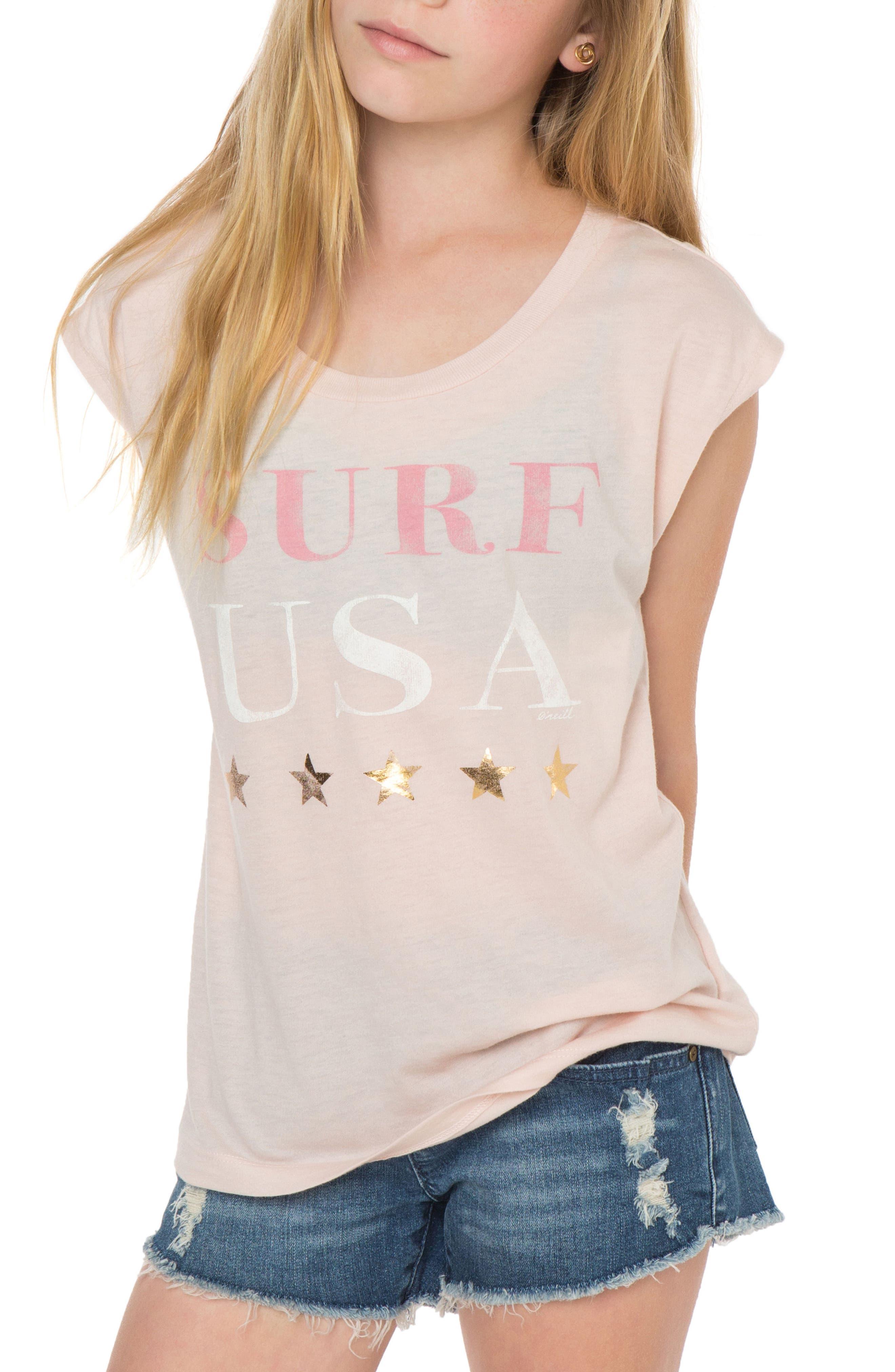 O'Neill Surf USA Graphic Tee (Big Girls)