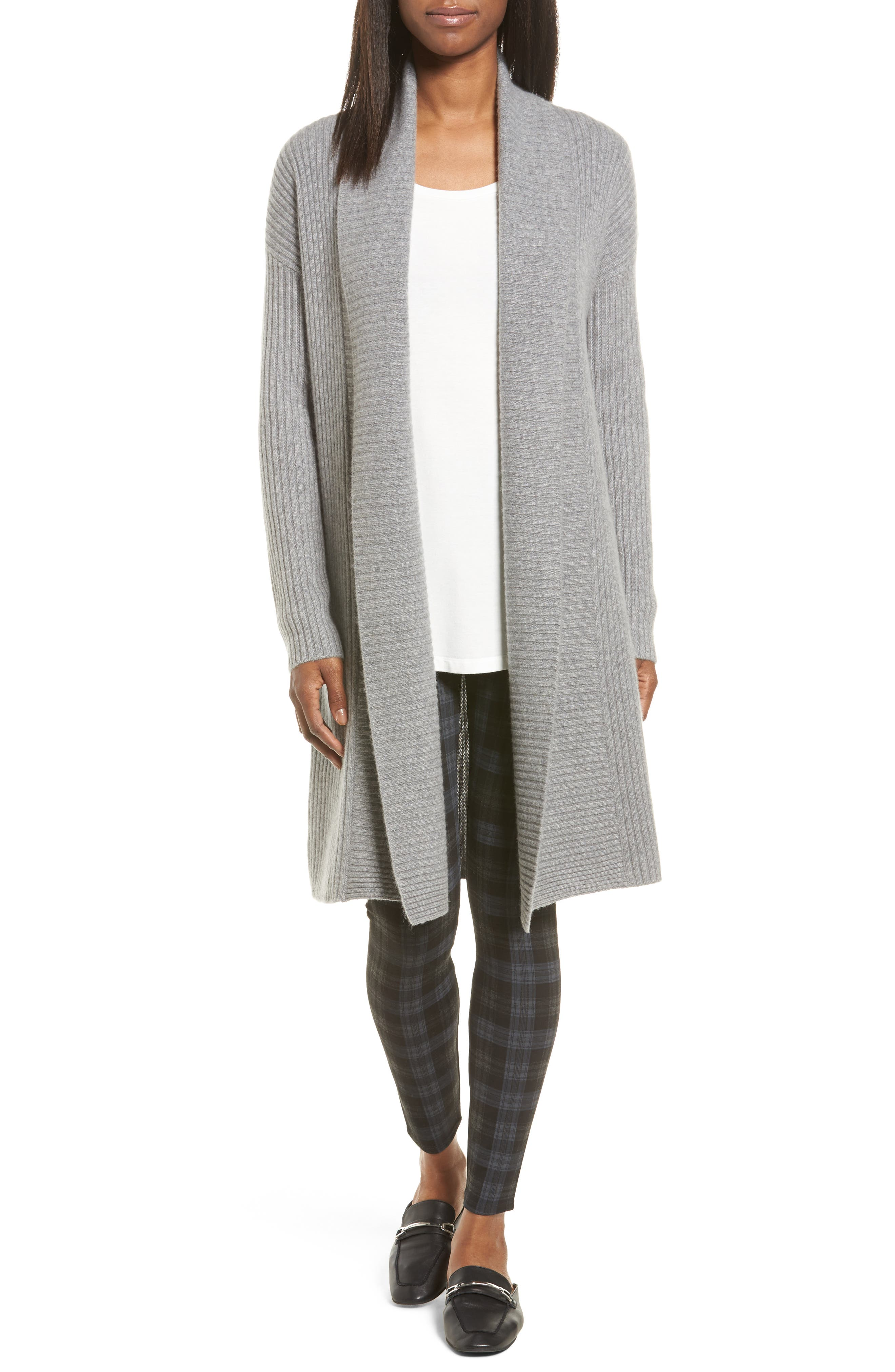 Halogen® Long Ribbed Cashmere Cardigan (Regular & Petite)