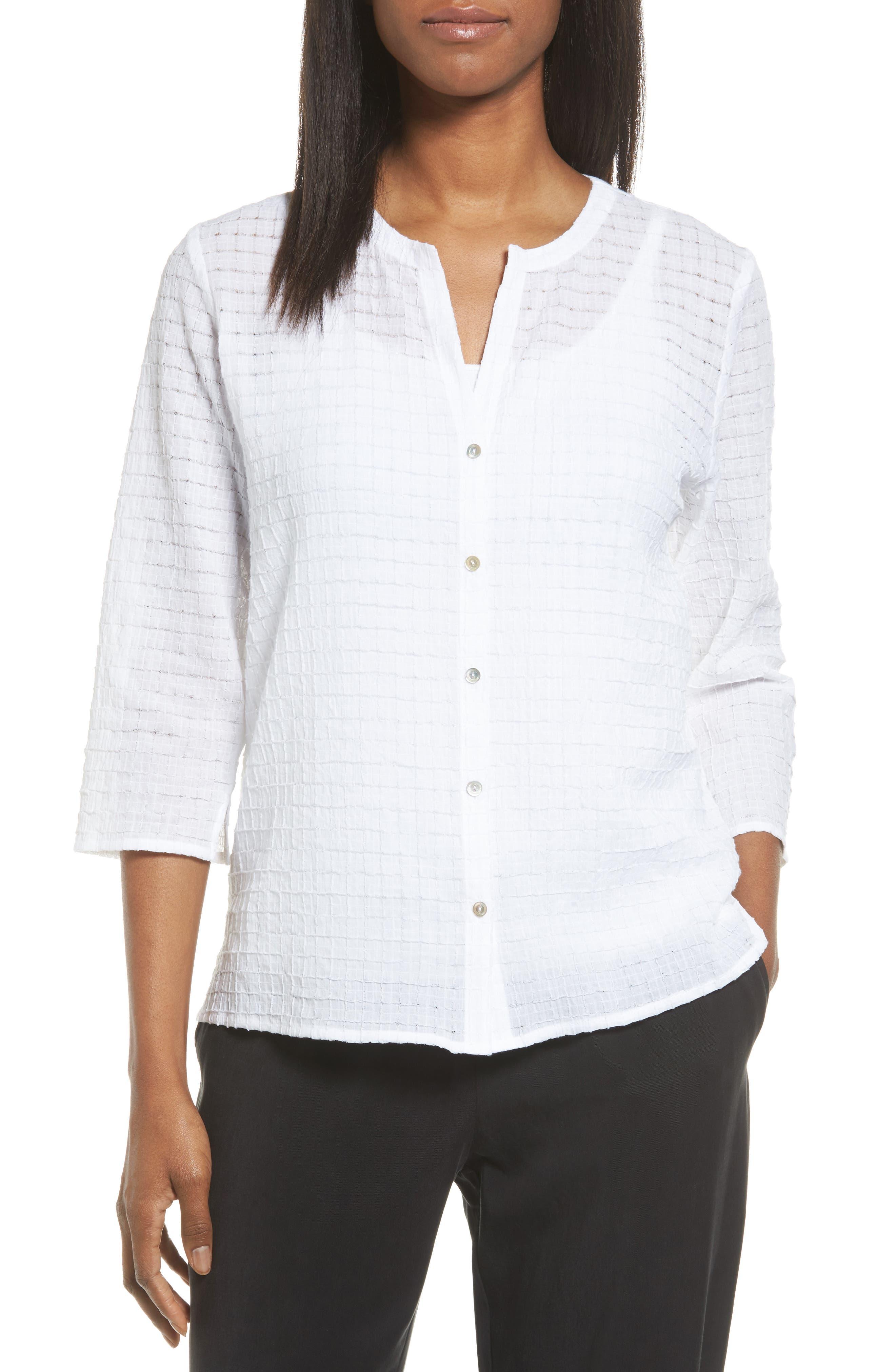 Eileen Fisher Check Textured Blouse (Regular & Petite)