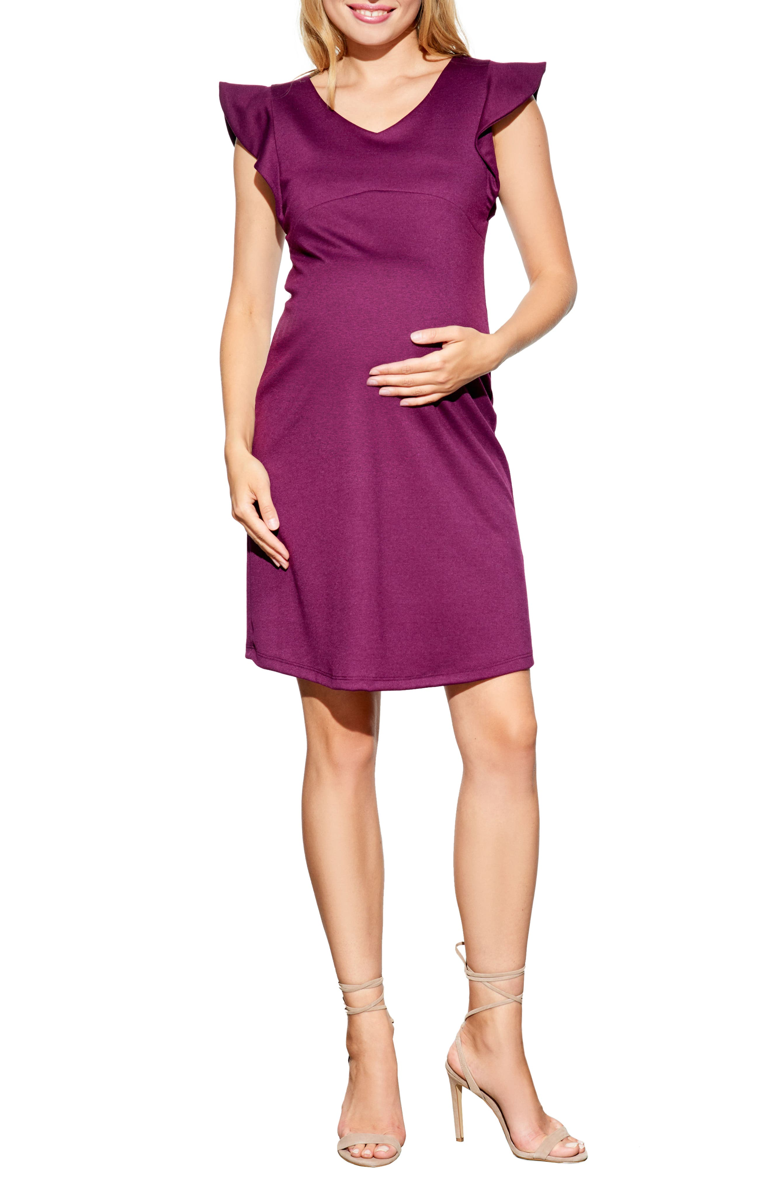Maternal America Flutter Sleeve Maternity Dress