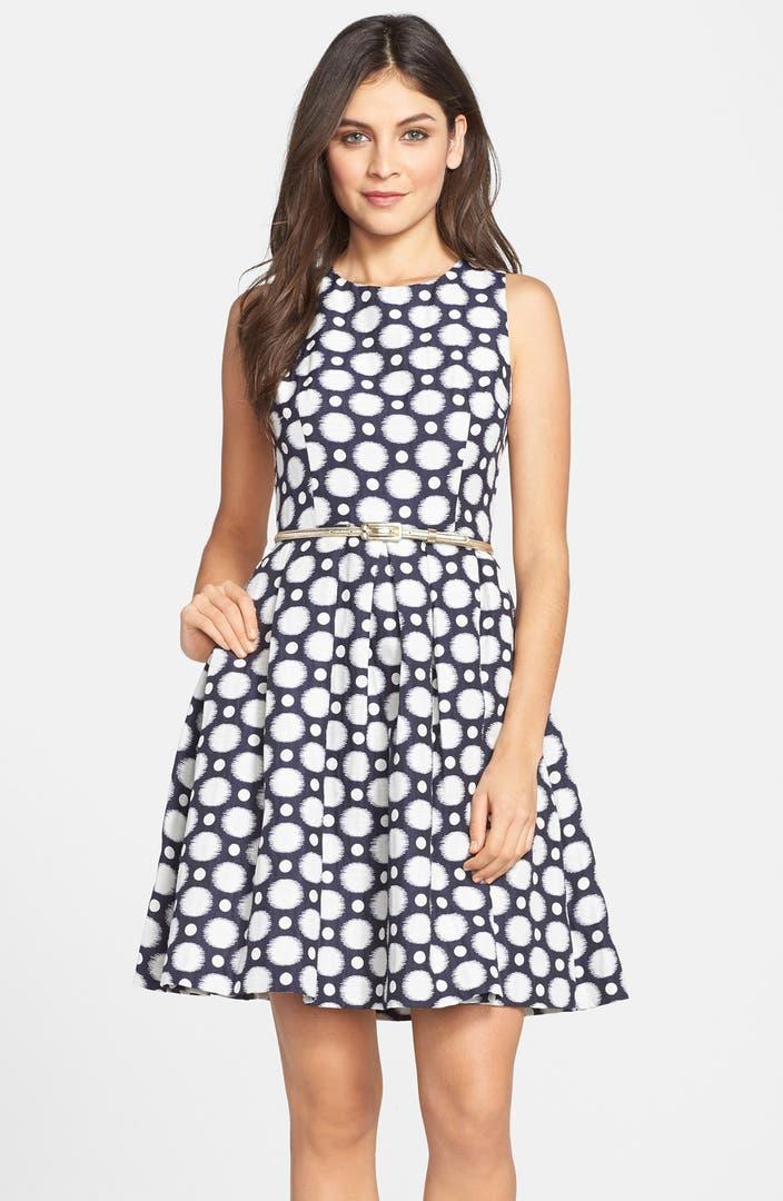 Eliza J Belted Jacquard Fit Amp Flare Dress Regular