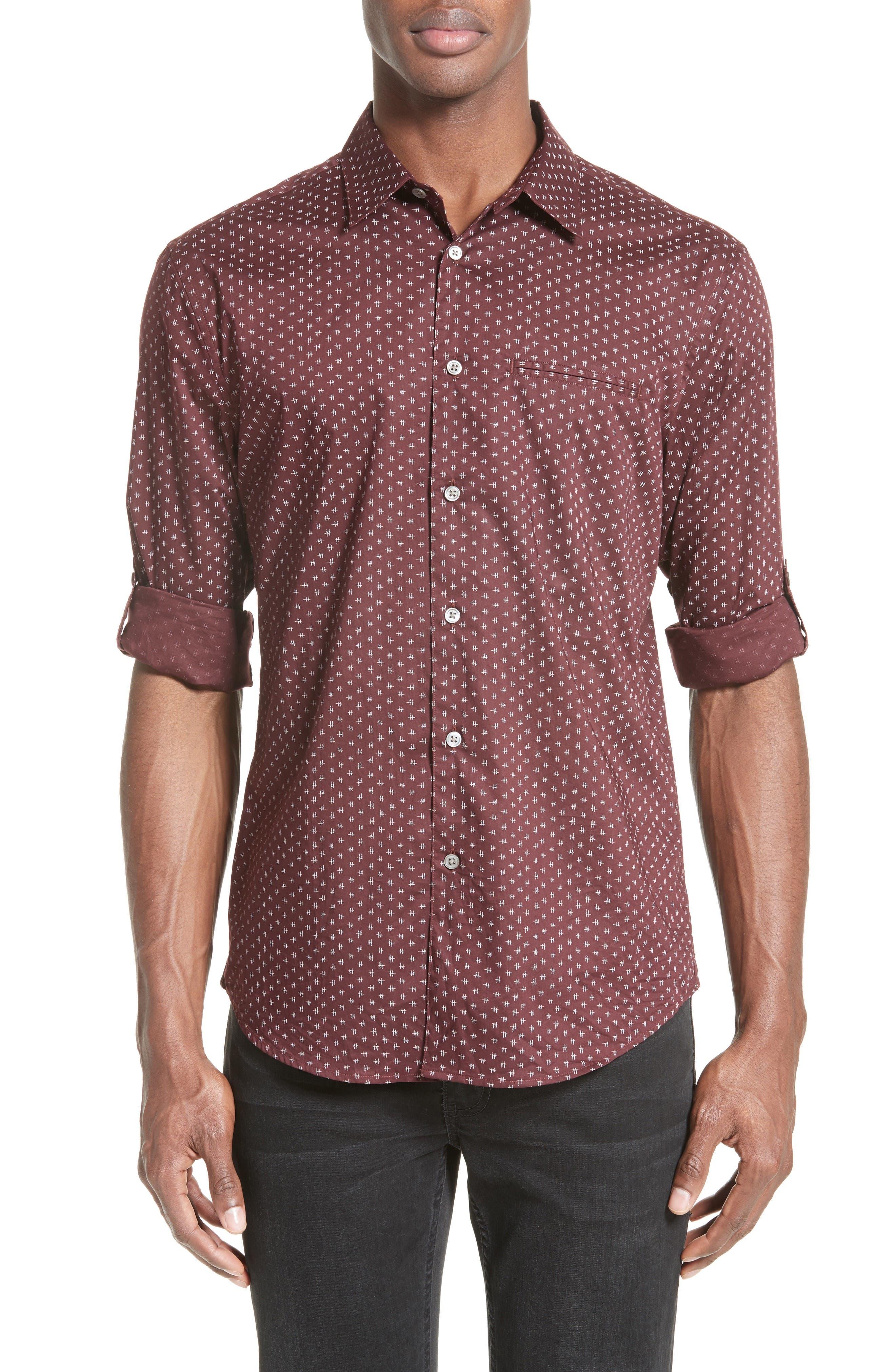 John Varvatos Collection Slim Fit Print Sport Shirt