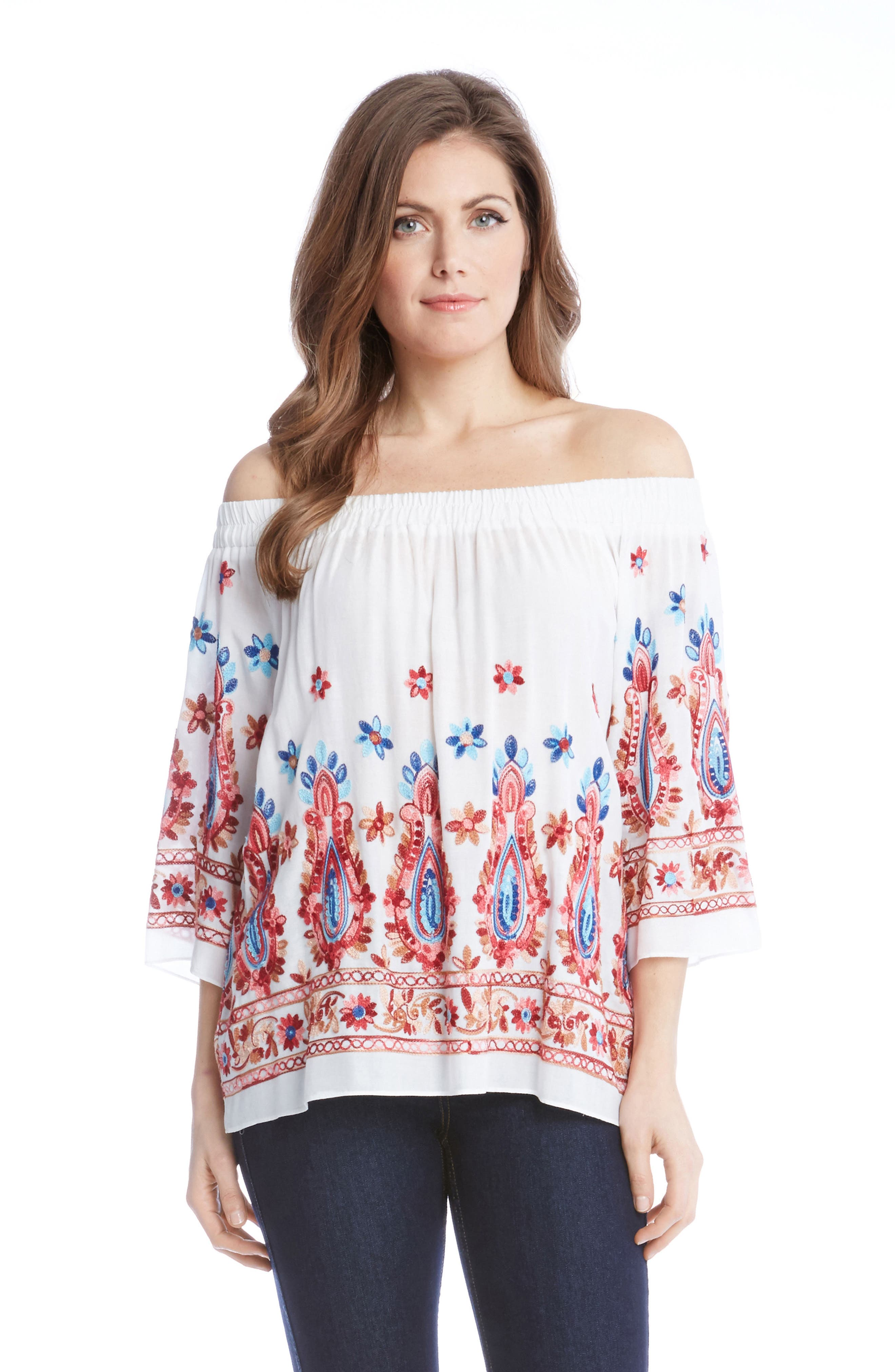 Karen Kane Embroidered Off the Shoulder Top