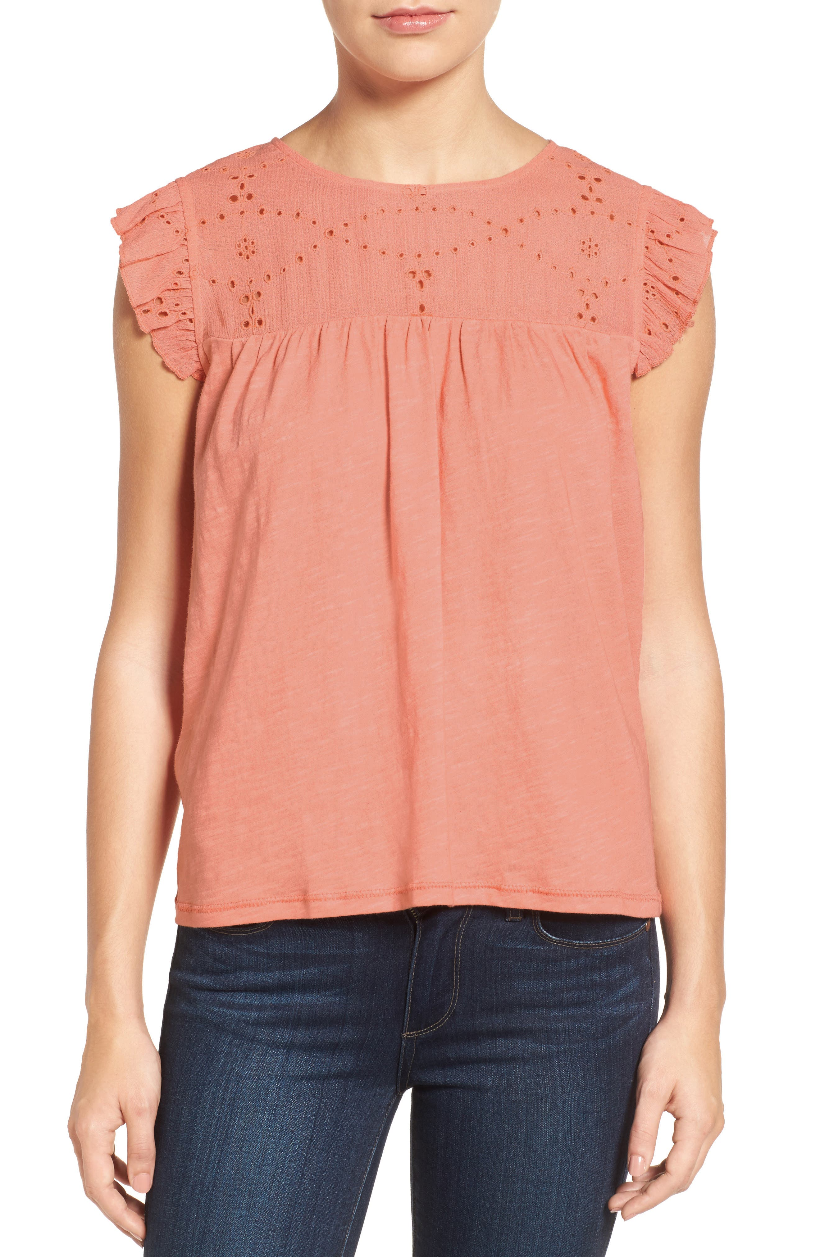 Caslon® Eyelet Embroidered Flutter Sleeve Top (Regular & Petite)