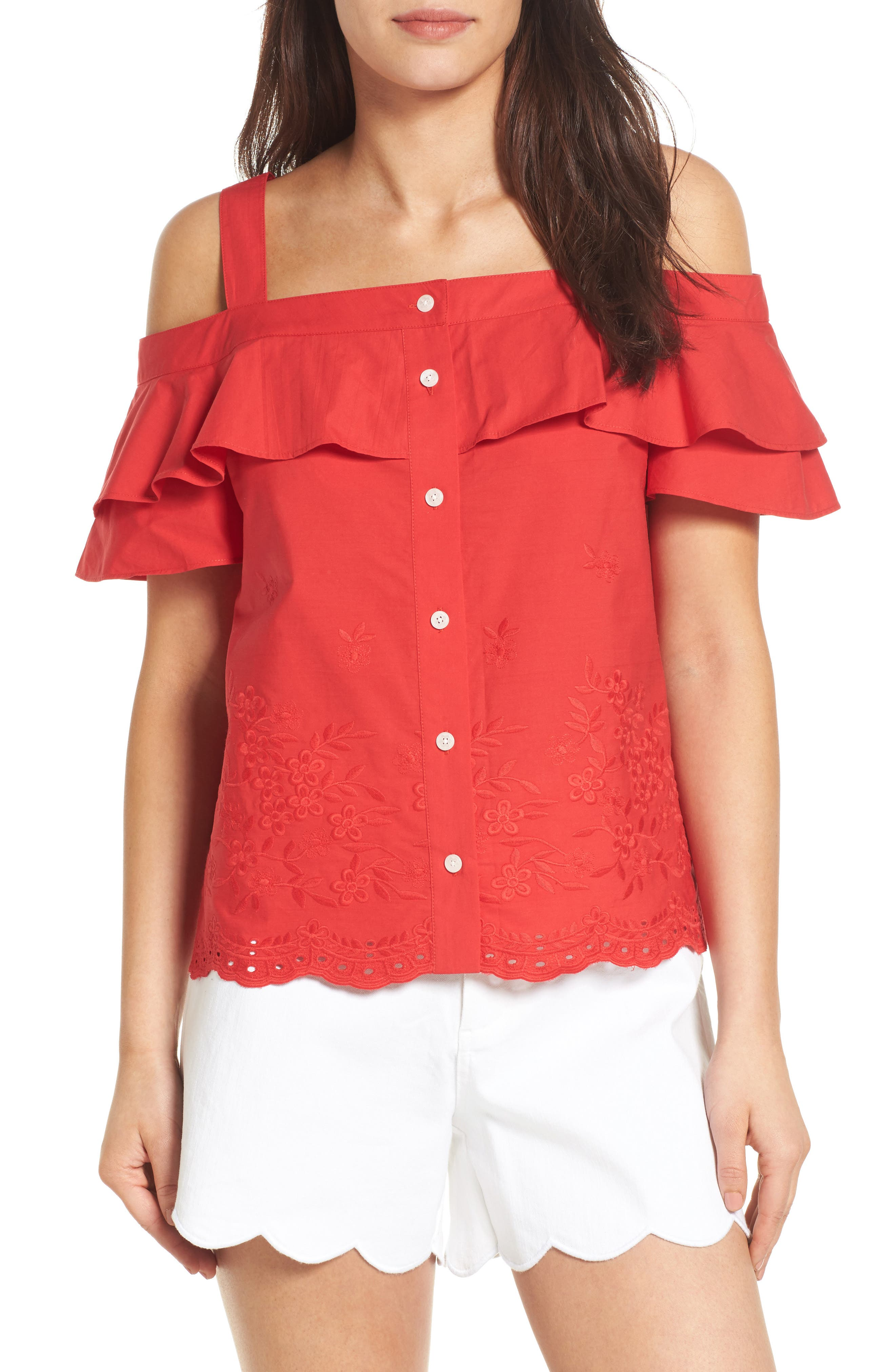 Draper James Nellie Cold Shoulder Embroidered Top (Nordstrom Exclusive)