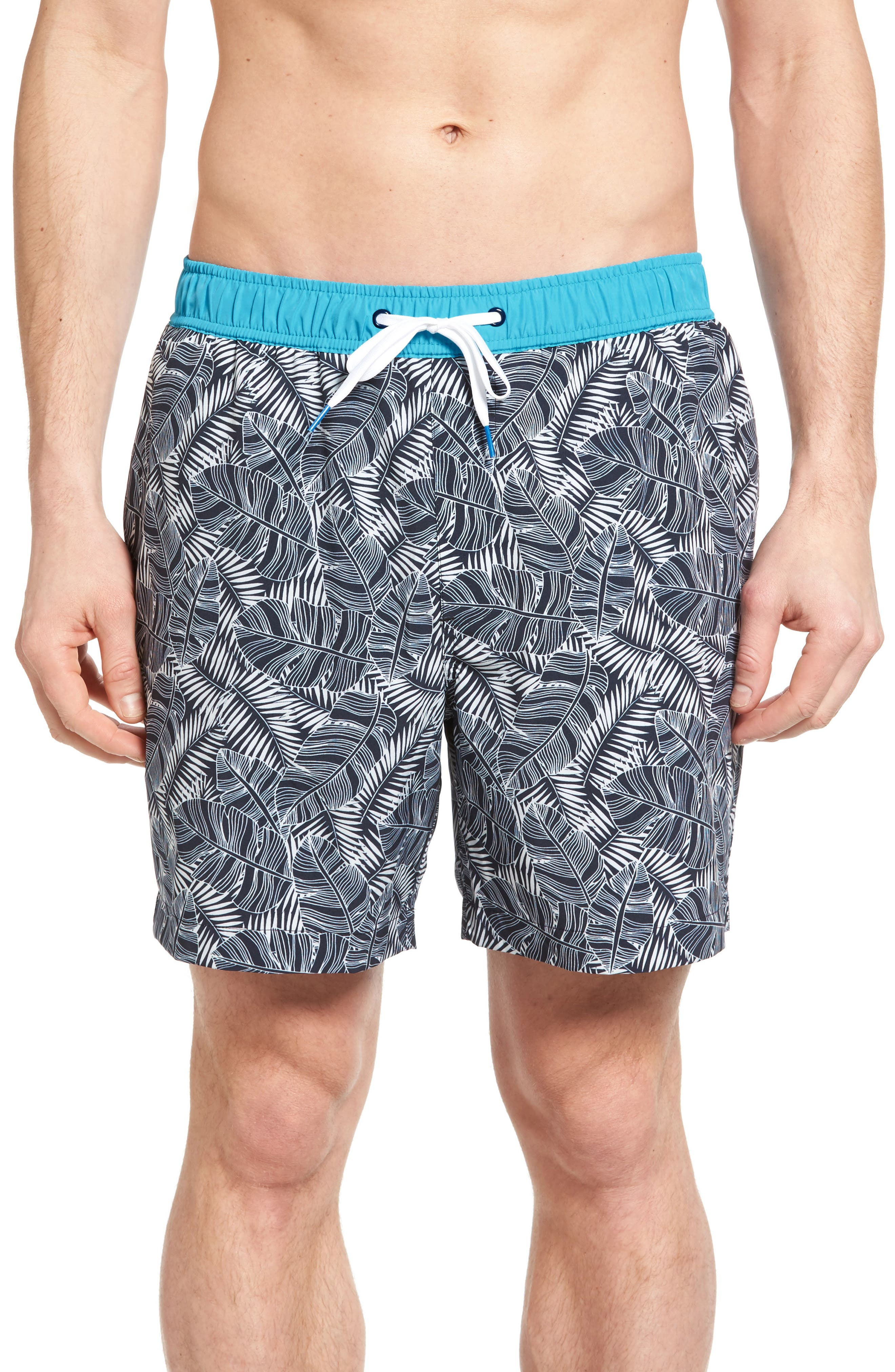 Michael Bastian Banana Leaf Print Swim Trunks