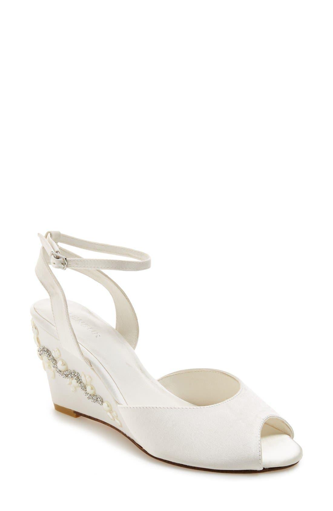 MENBUR 'Estela' Ornamented Satin Wedge Sandal