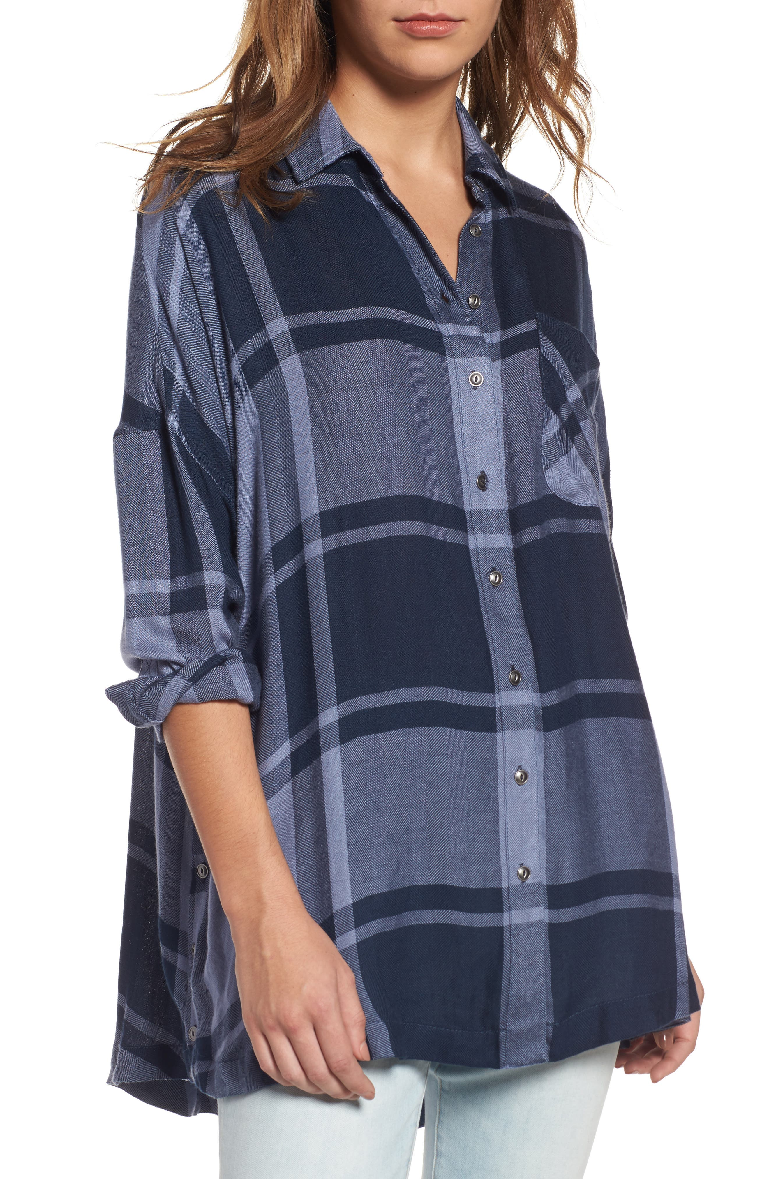 Free People Oversized Plaid Tunic