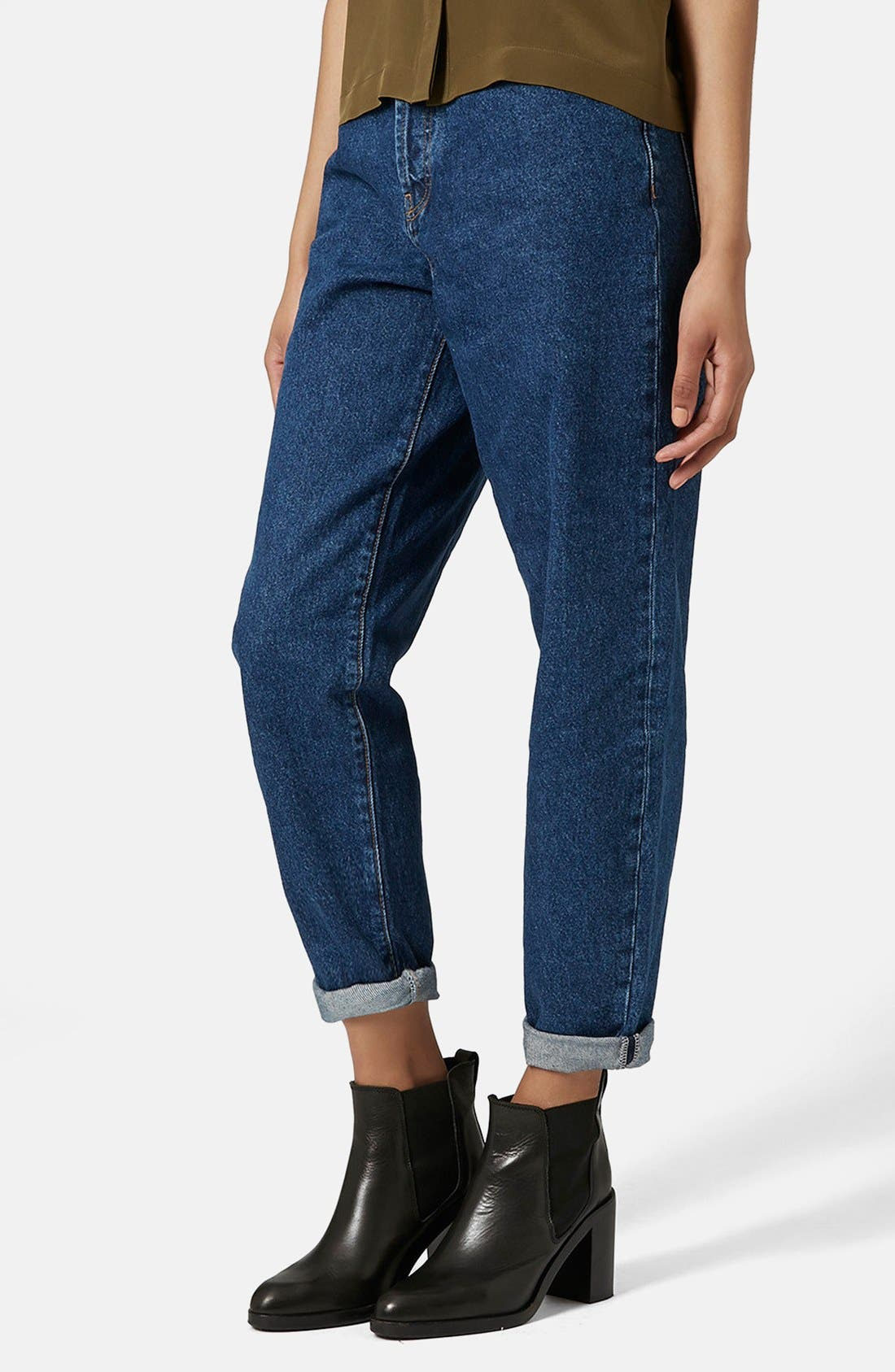 Main Image - Topshop Boutique High Rise Slouchy Jeans (Mid Denim)