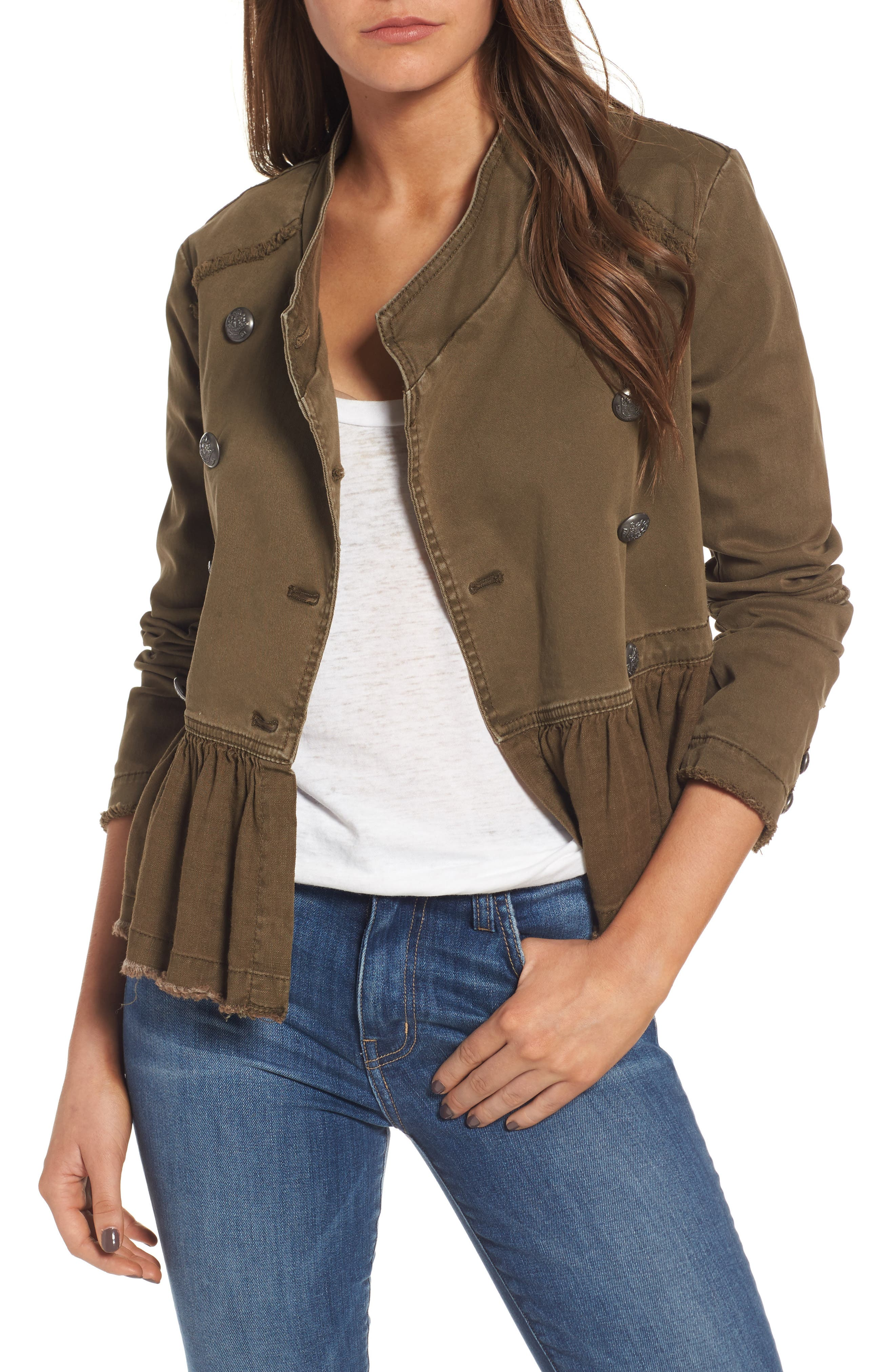 Free People Ruffle Hem Military Jacket