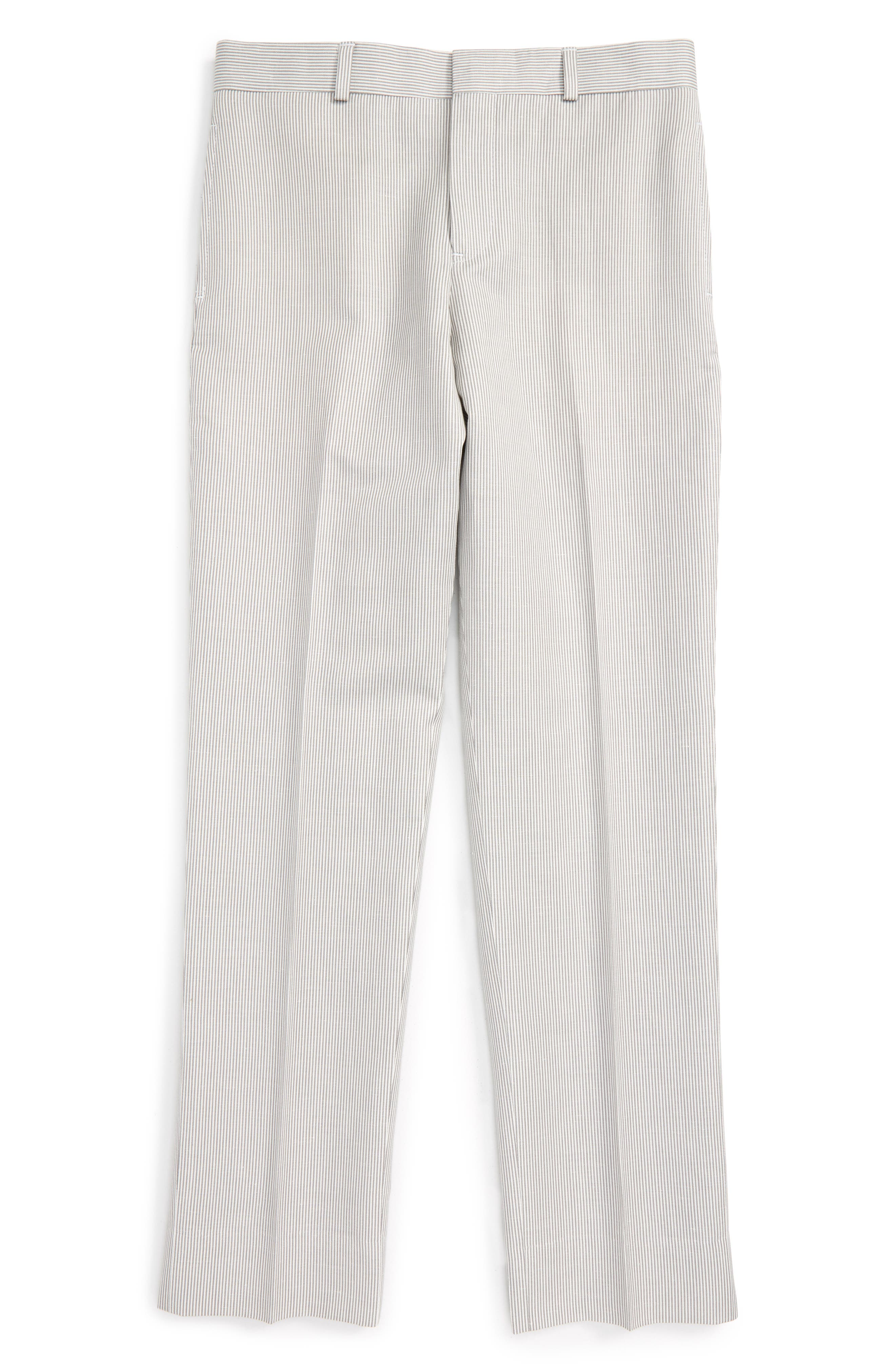 JB JR Stripe Flat Front Cotton and Linen Trousers (Big Boys)