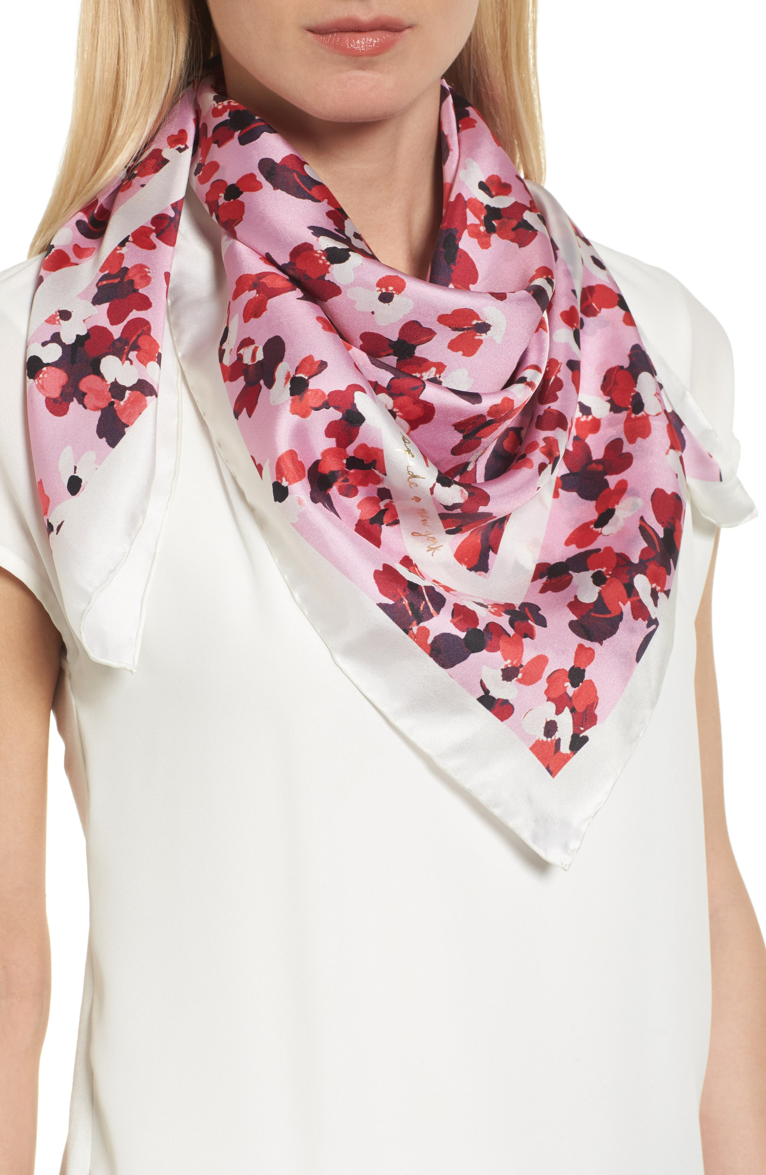 kate spade new york scenic floral square silk scarf