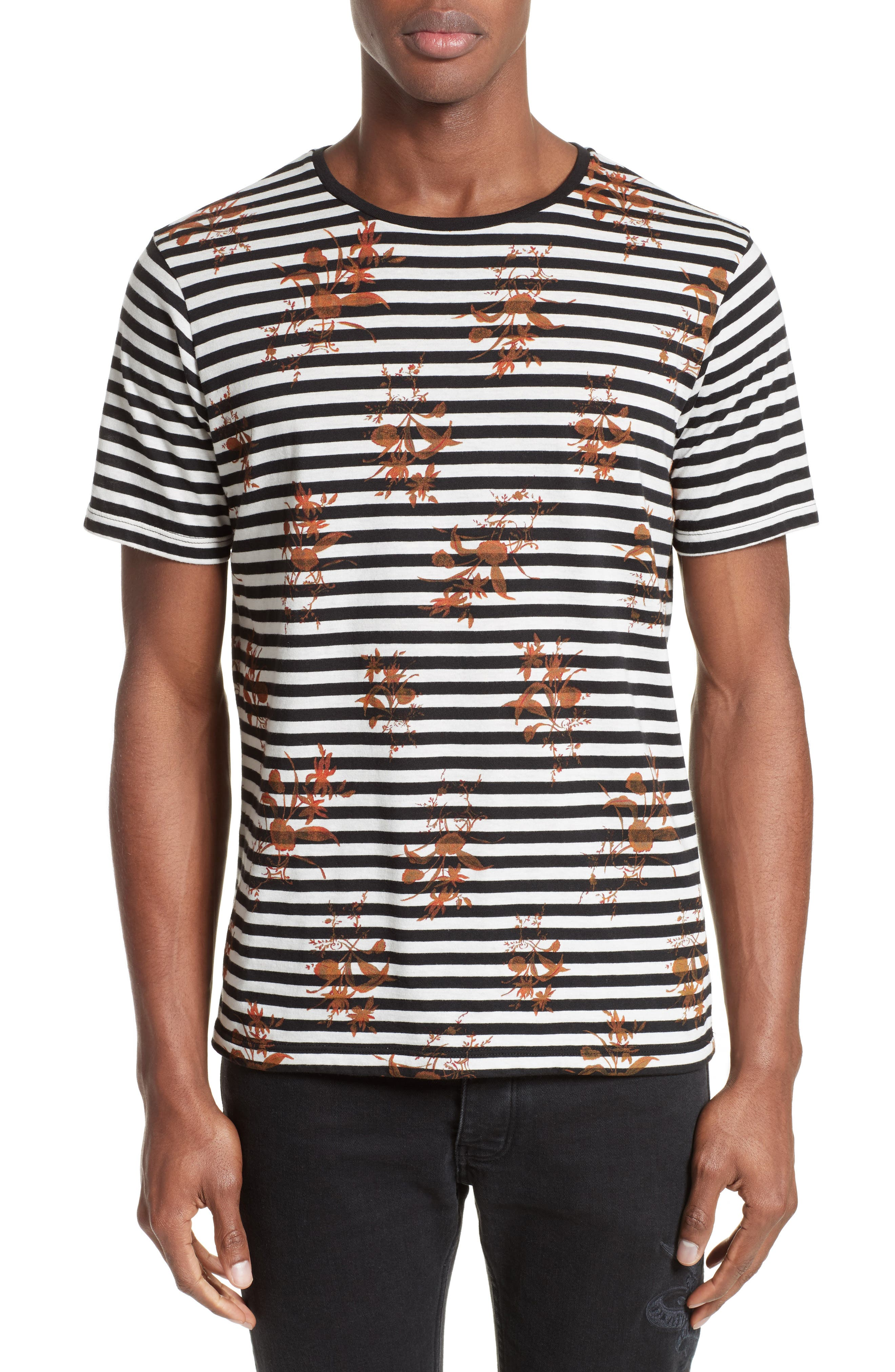 The Kooples Flower Print Stripe Ringer T-Shirt