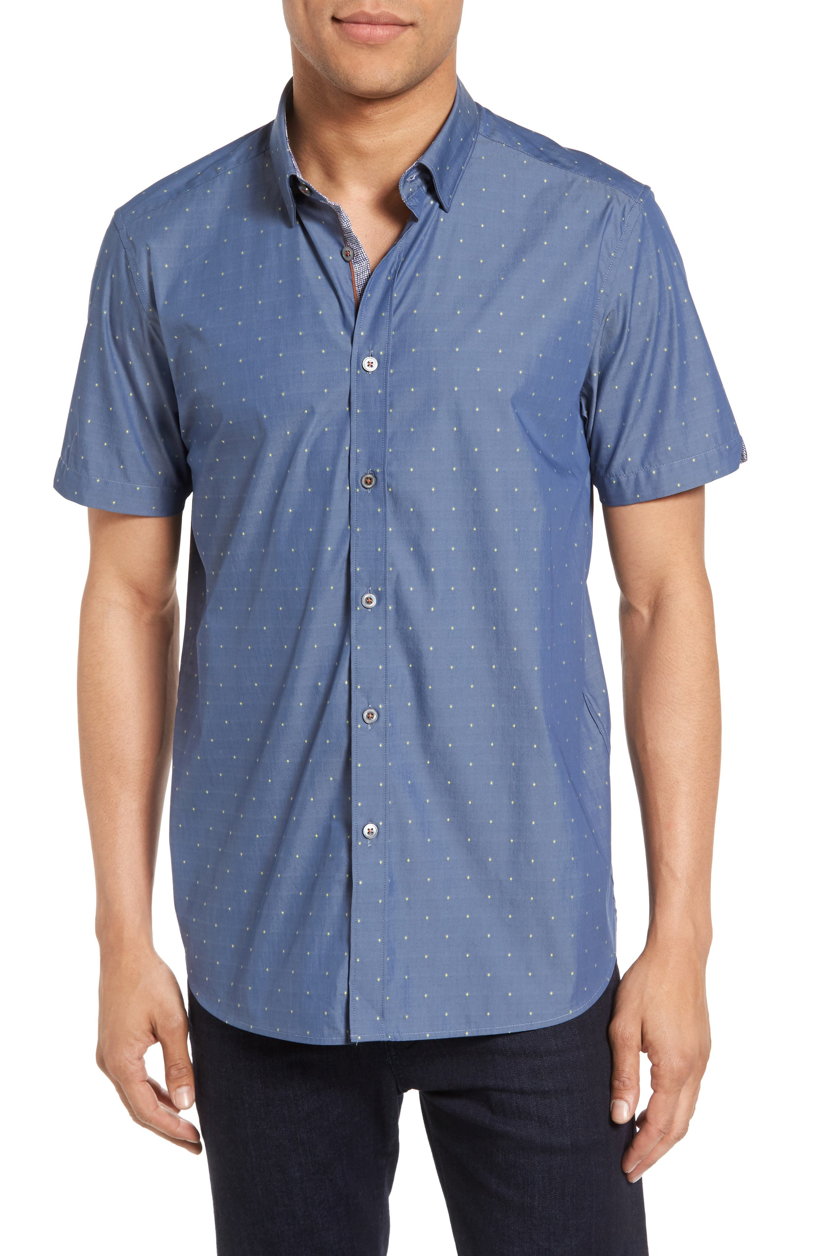 Ted Baker London Leeo Extra Slim Fit Chambray Sport Shirt