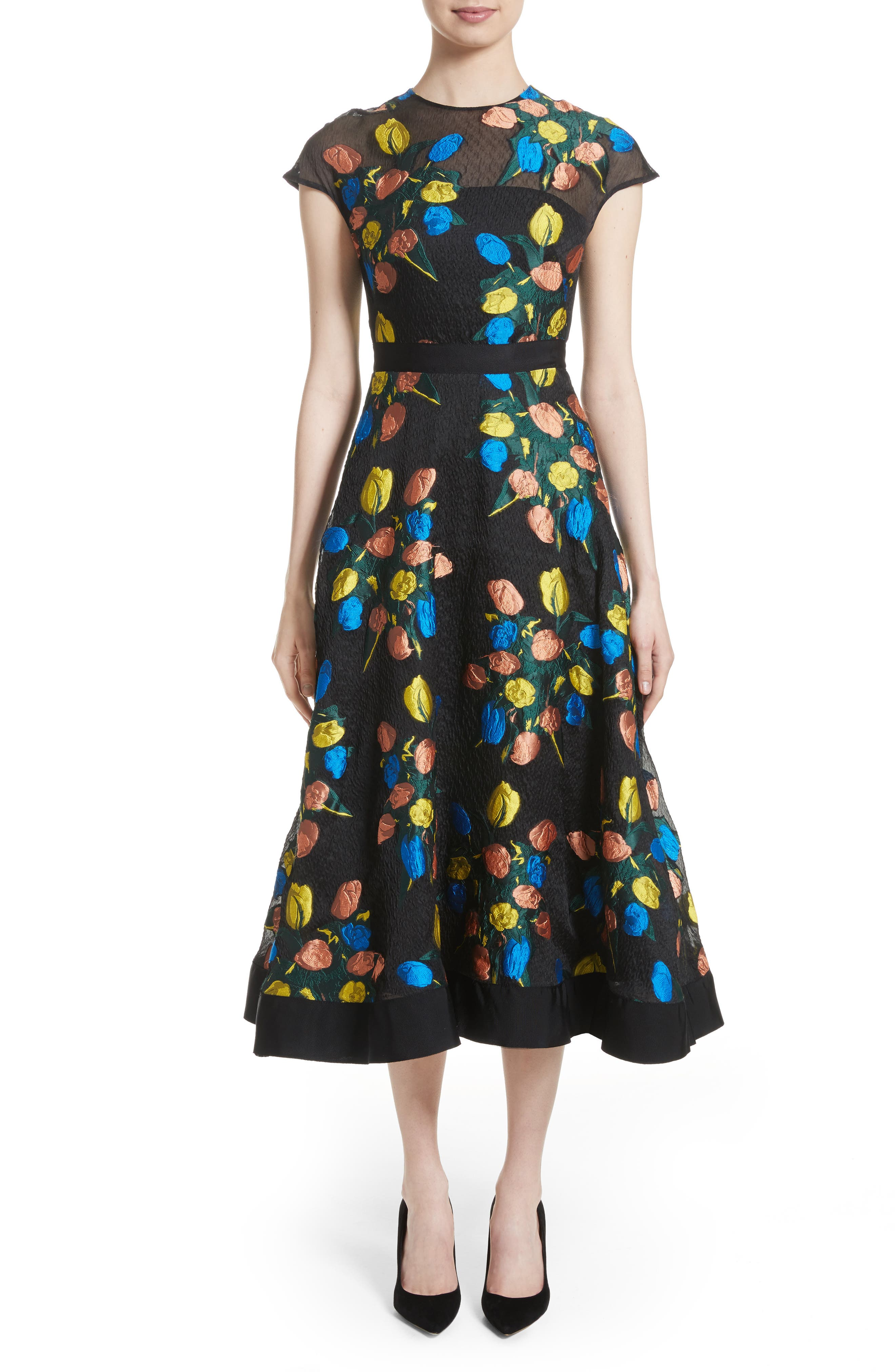 Lela Rose Tulip Embroidered Fit & Flare Dress
