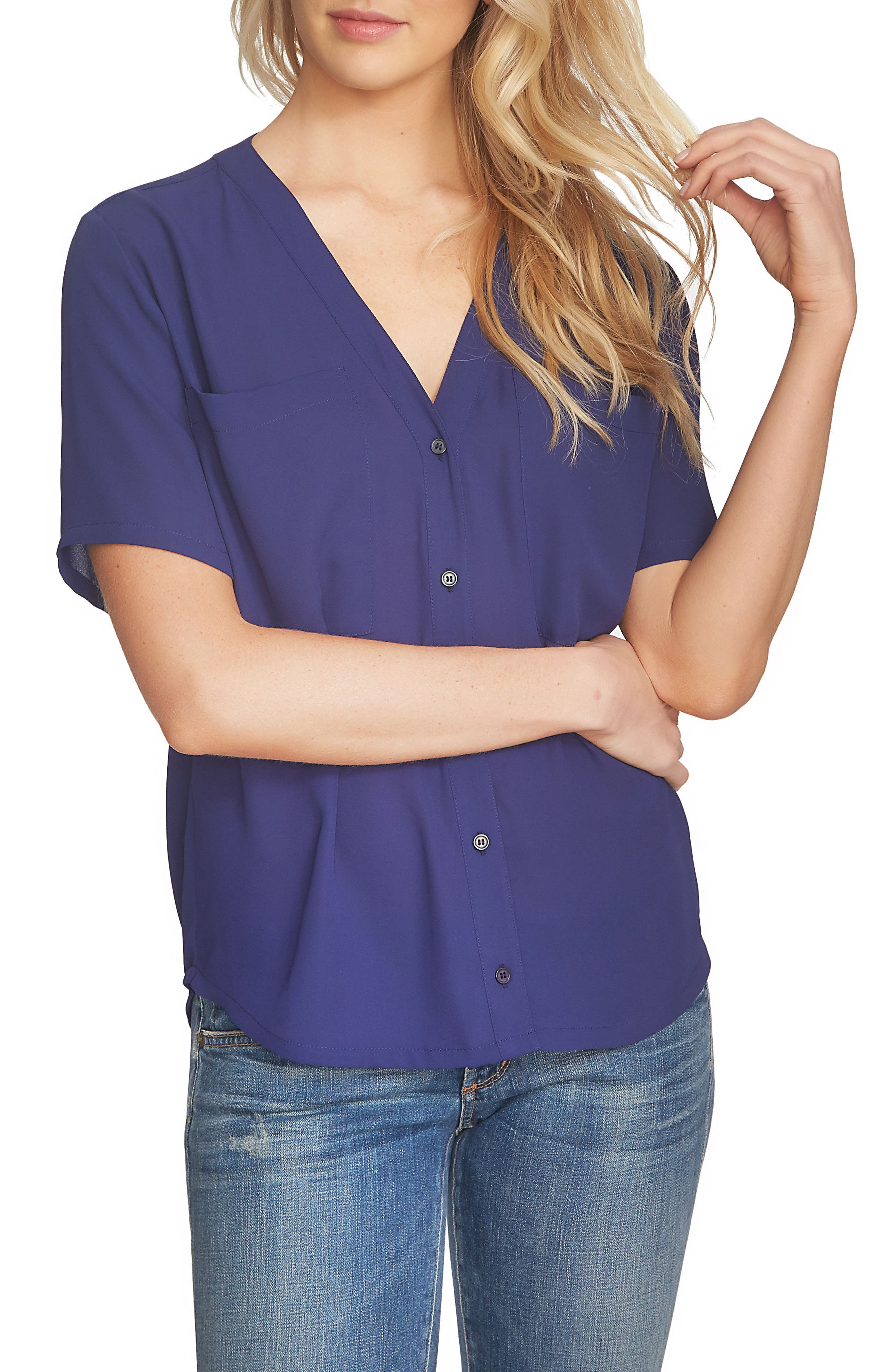 1.STATE V-Neck Button Front Blouse