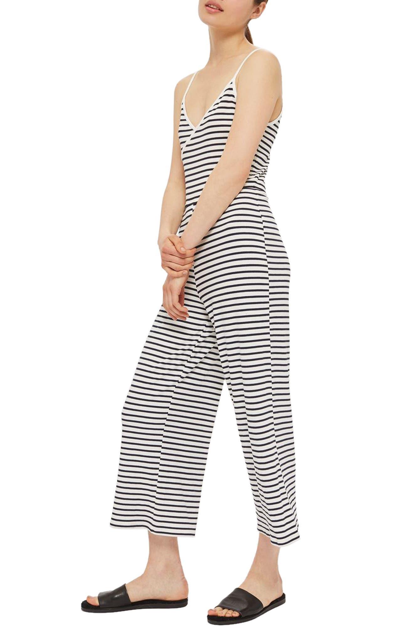Main Image - Topshop Stripe Jumpsuit