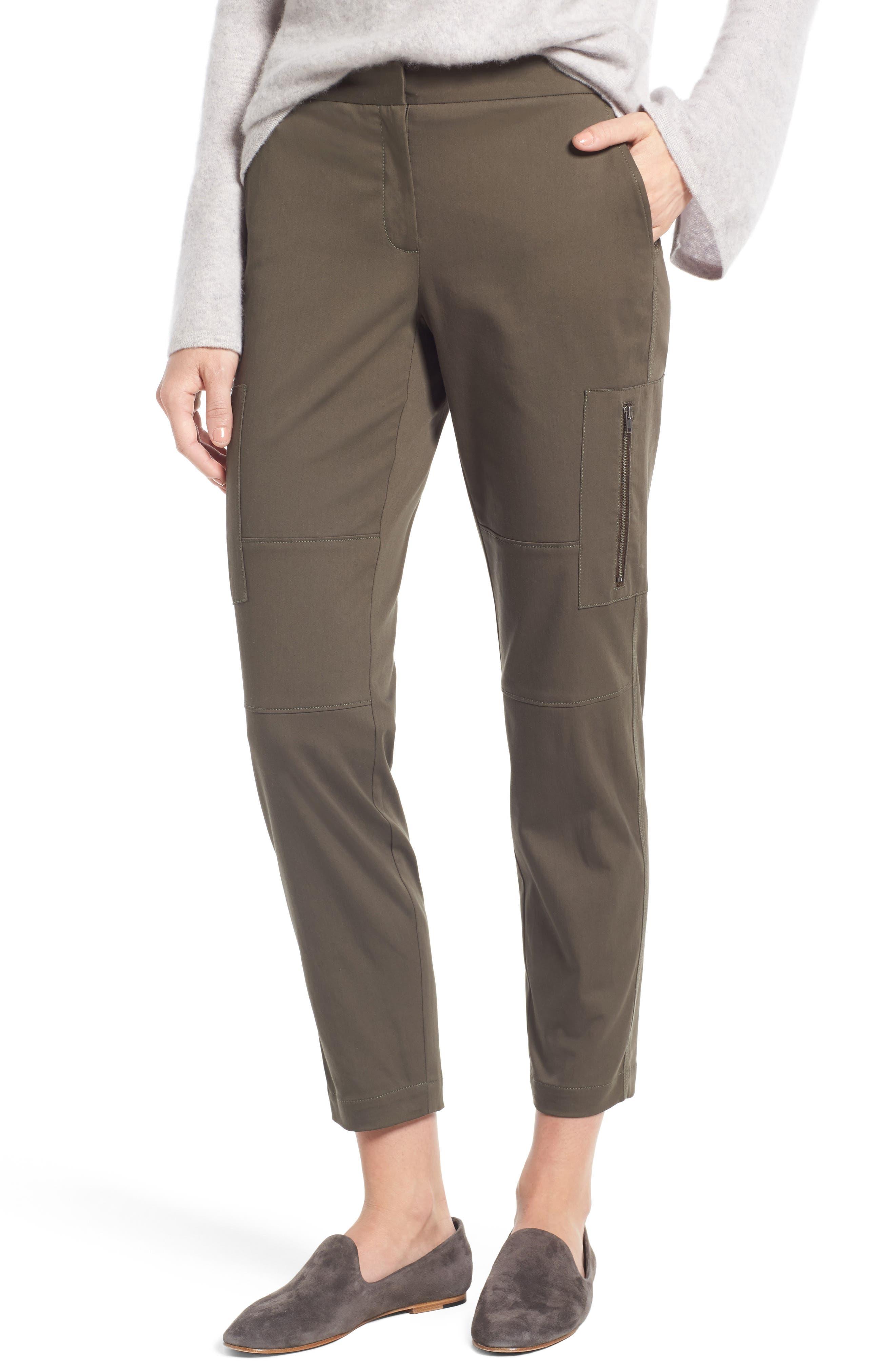 Nordstrom Signature Zip Detail Stretch Sateen Cargo Pants