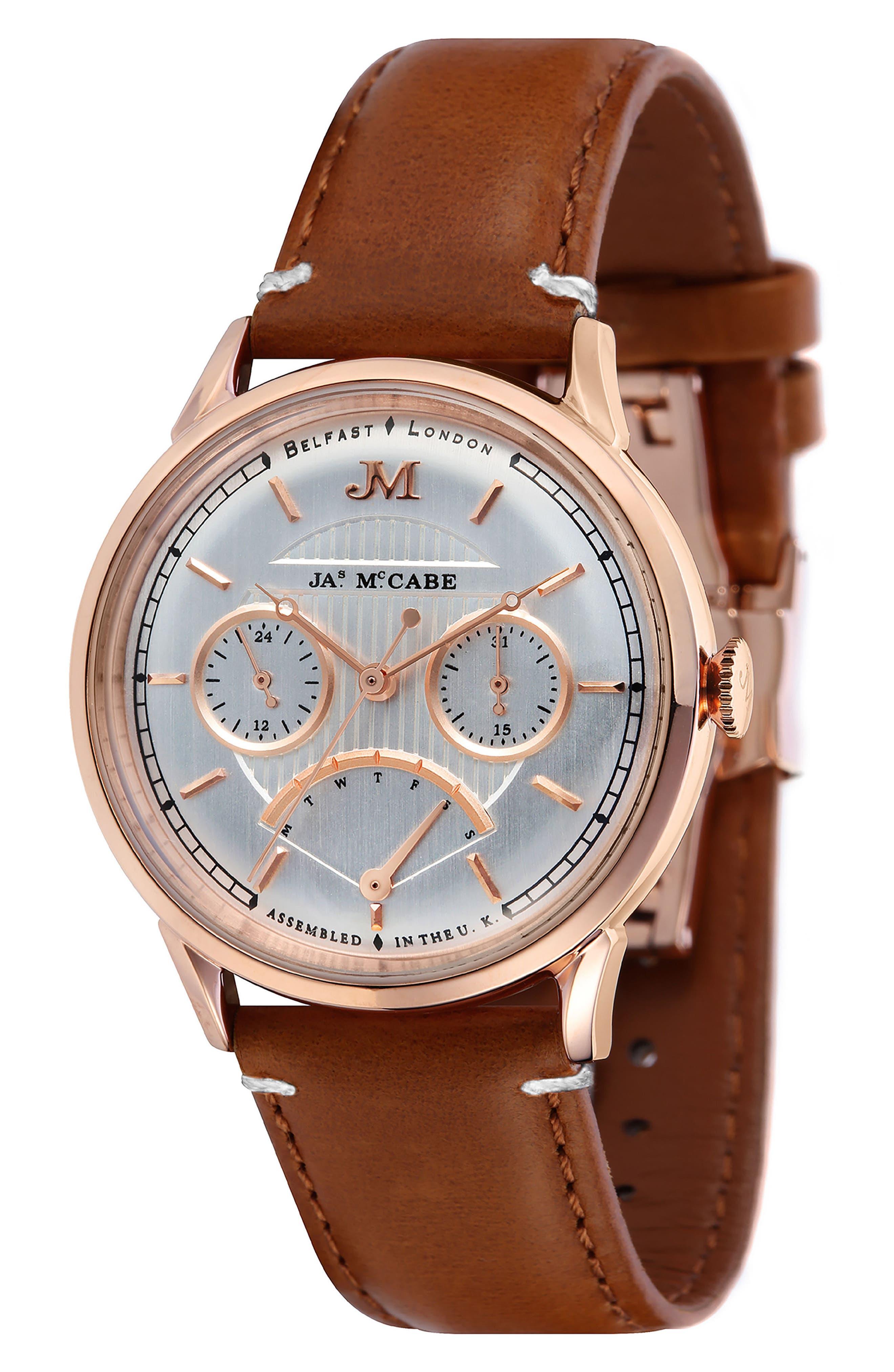 James McCabe Heritage Retrograde II Leather Strap Watch, 39.5mm