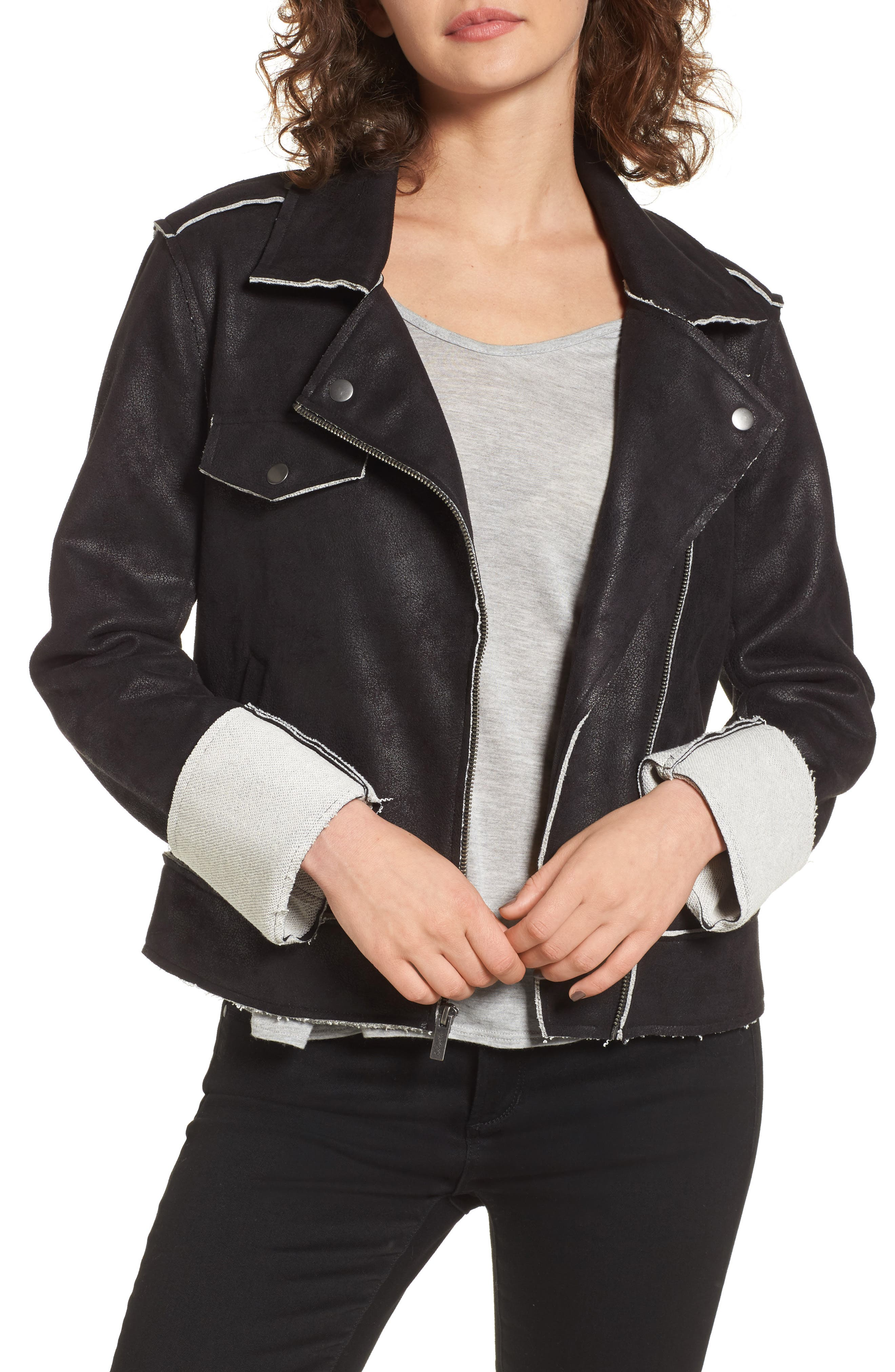Splendid Faux Suede & French Terry Bonded Moto Jacket