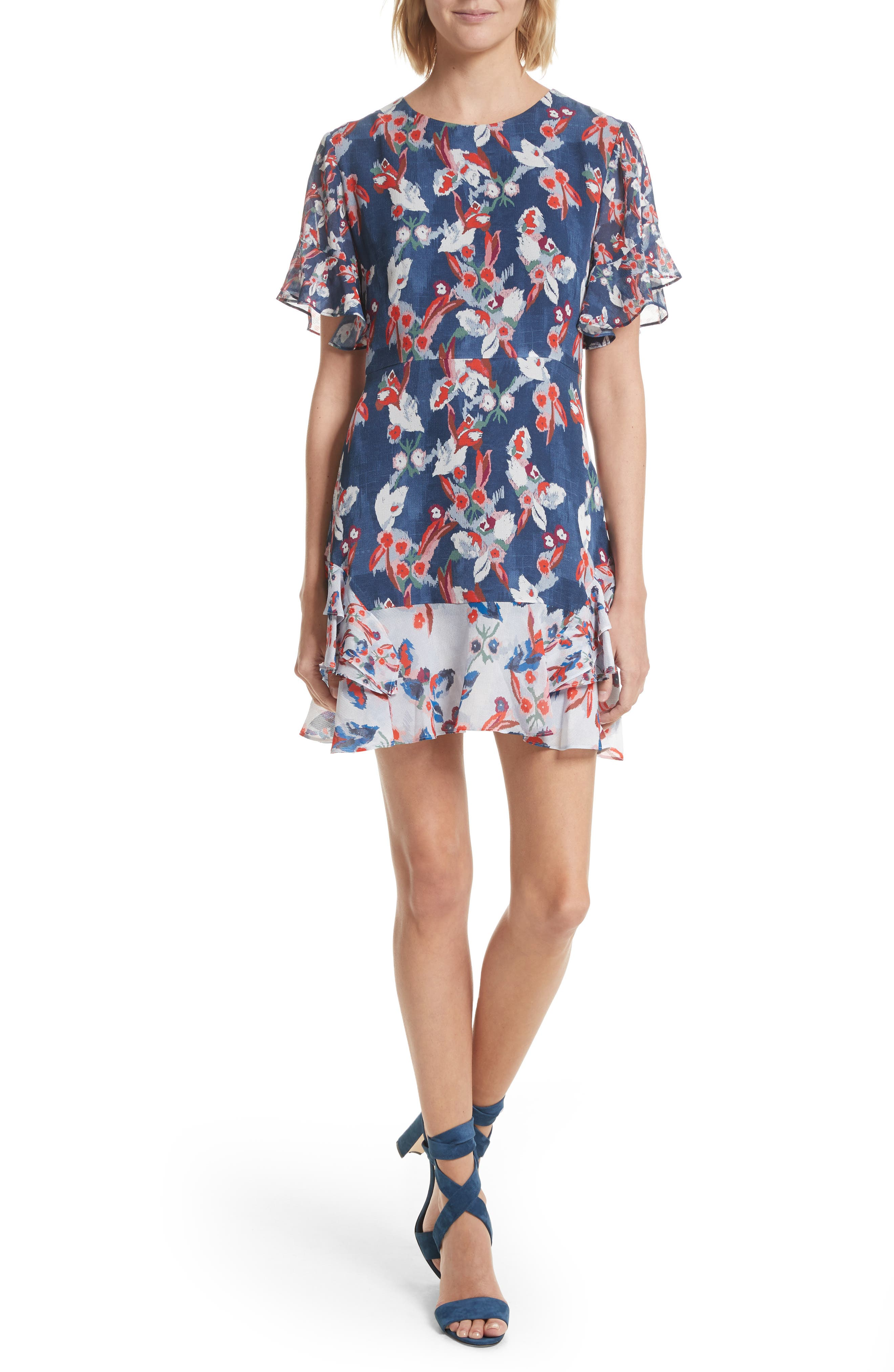 Tanya Taylor Lissy Floral Ikat Silk Dress
