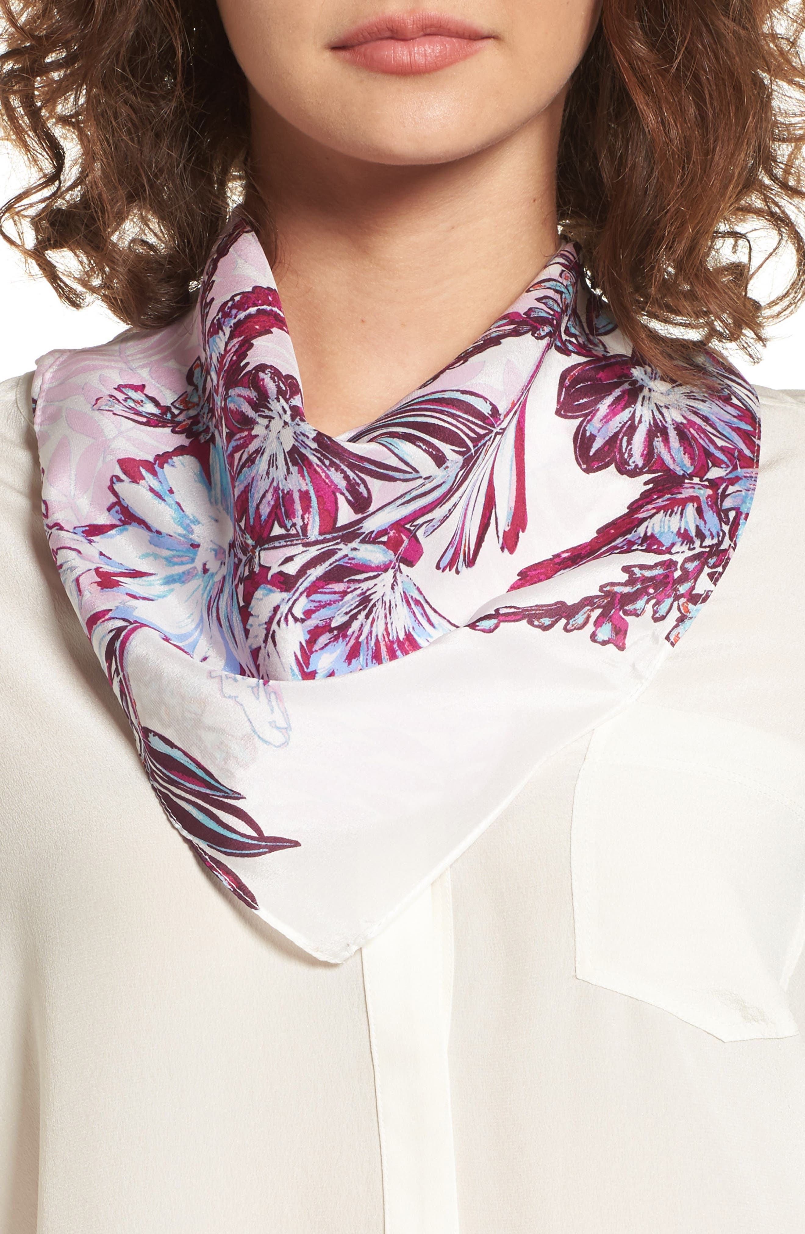 Halogen® Aloha Blooms Square Silk Scarf