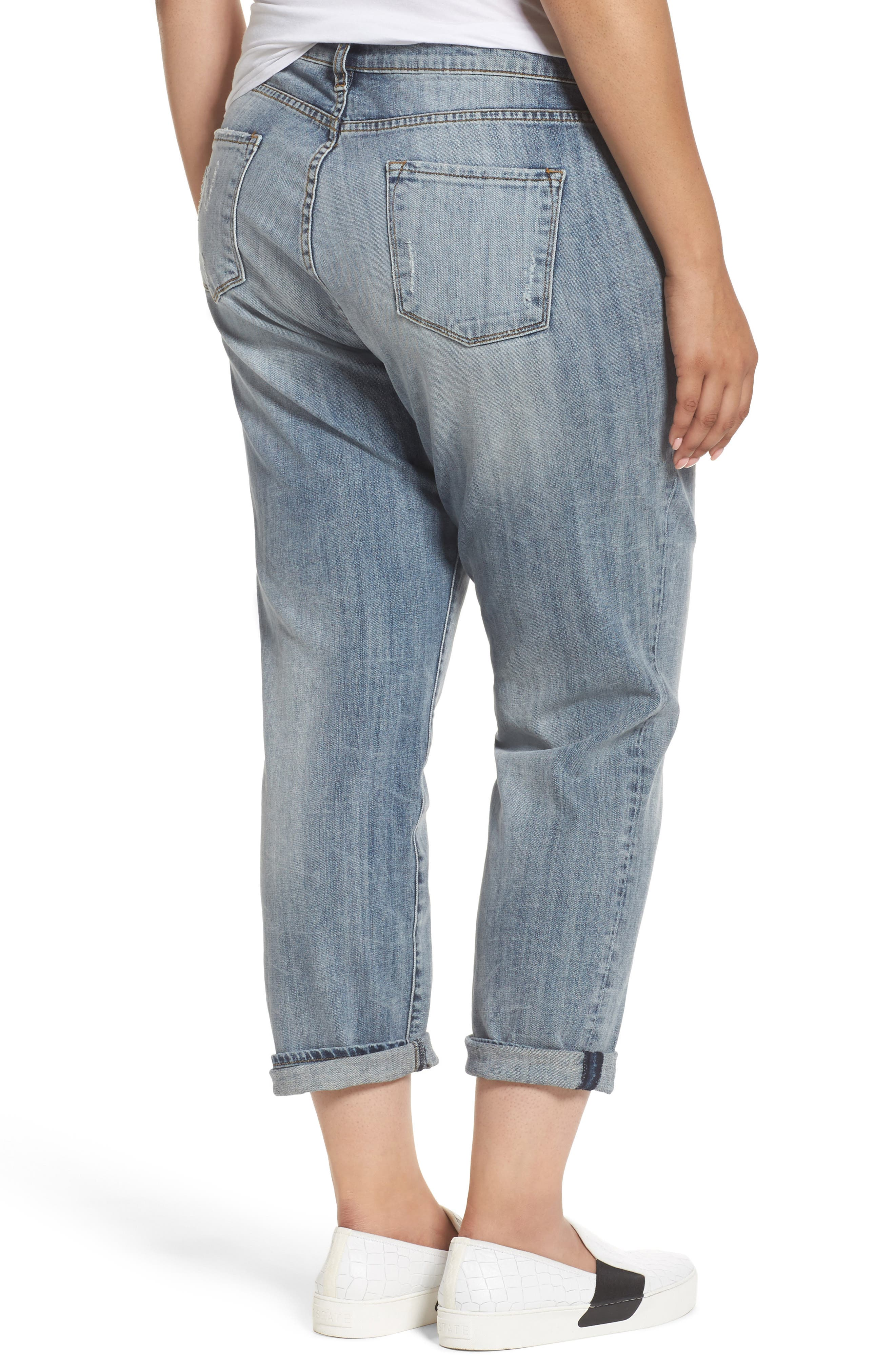Alternate Image 2  - KUT from the Kloth Catherine Stretch Distressed Boyfriend Jeans (Regarded) (Plus Size)